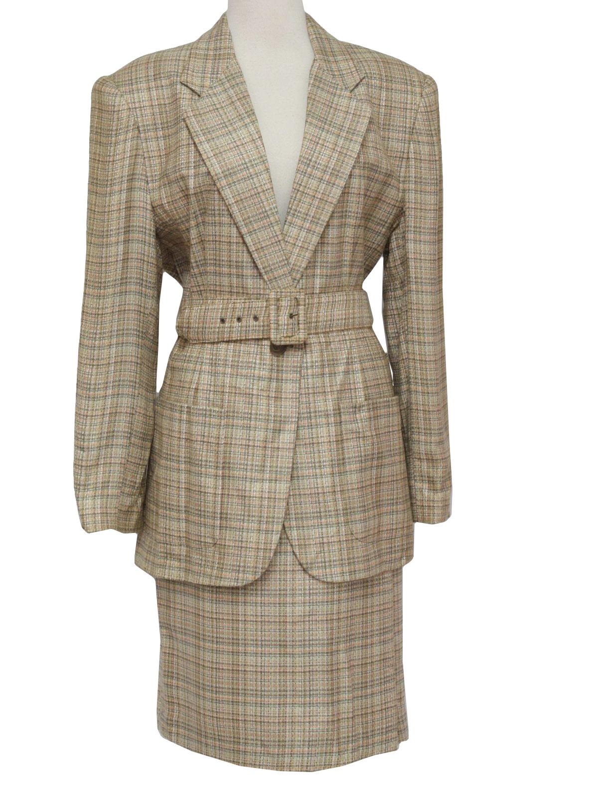 Eighties Vintage Suit 80s Rafael Womens Shaded Cream