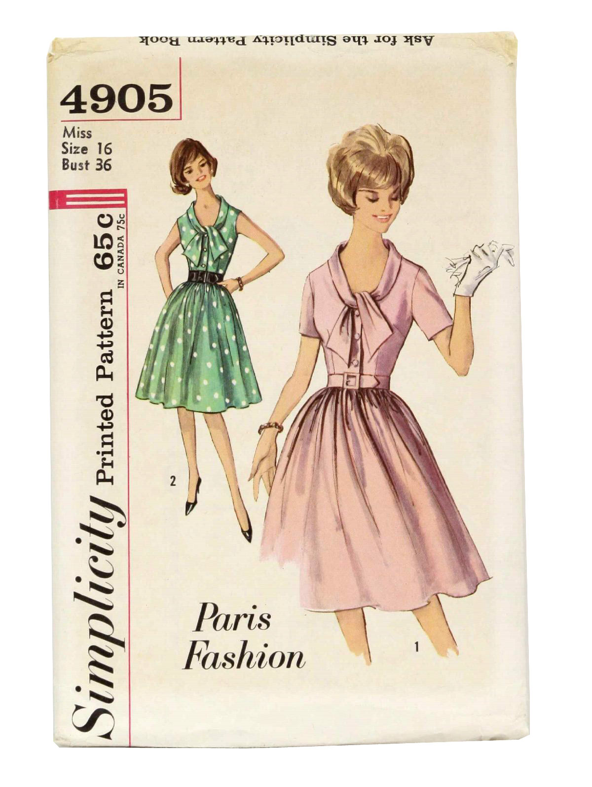 1960 -Simplicity Paris Fashion 4905- Womens sewing pattern for