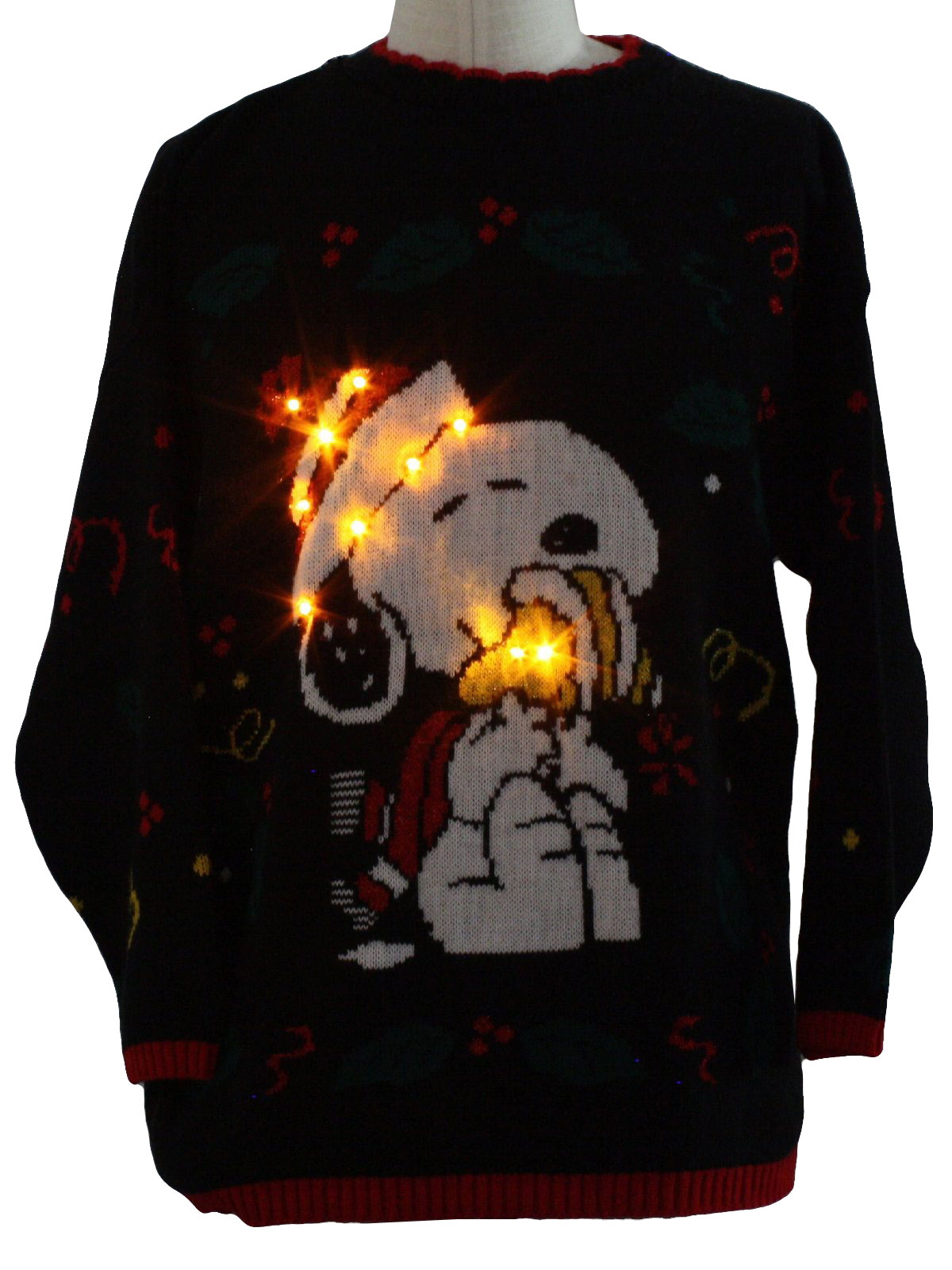 vintage 1980s snoopy lightup ugly christmas sweater 80s authentic vintage made in usa snoopy and friends unisex black white red green and yellow