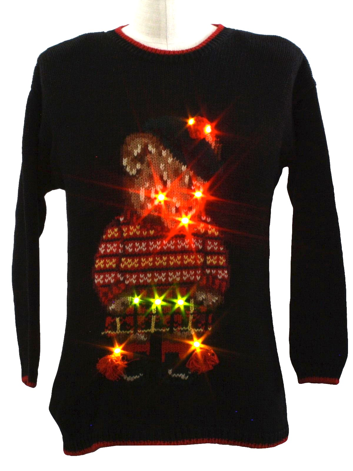 Bear Riffic Lightup Ugly Christmas Sweater Retro Look The Eagles