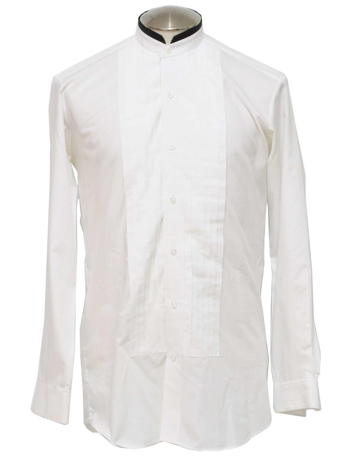 80s retro shirt 80s devin michaels mens white polyester for Tuxedo shirt black buttons