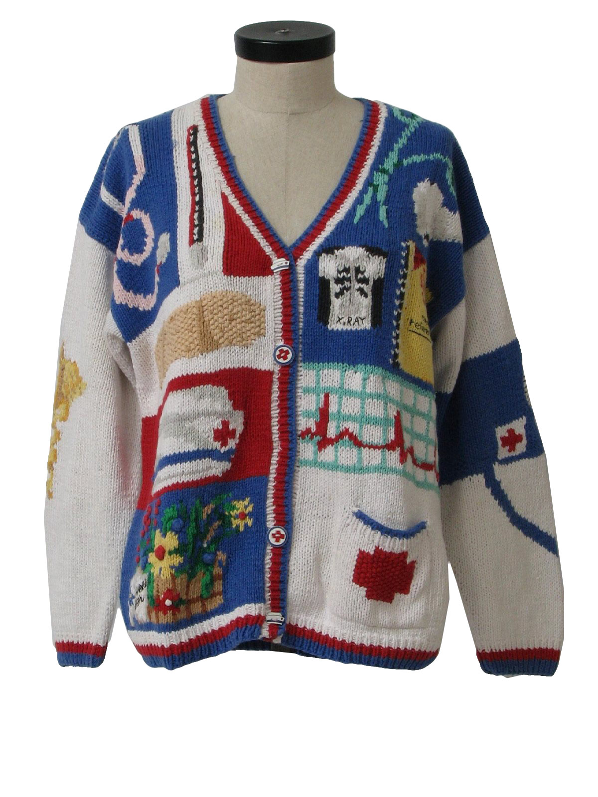Nurse Christmas Sweater.1990 S The Eagles Eye Womens Kitschy Cheesy Ugly Nuse Sweater