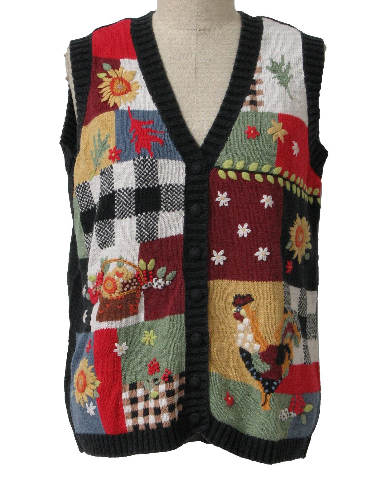 90s Vintage Blair Sweater: 90s -Blair- Womens black, white, red ...