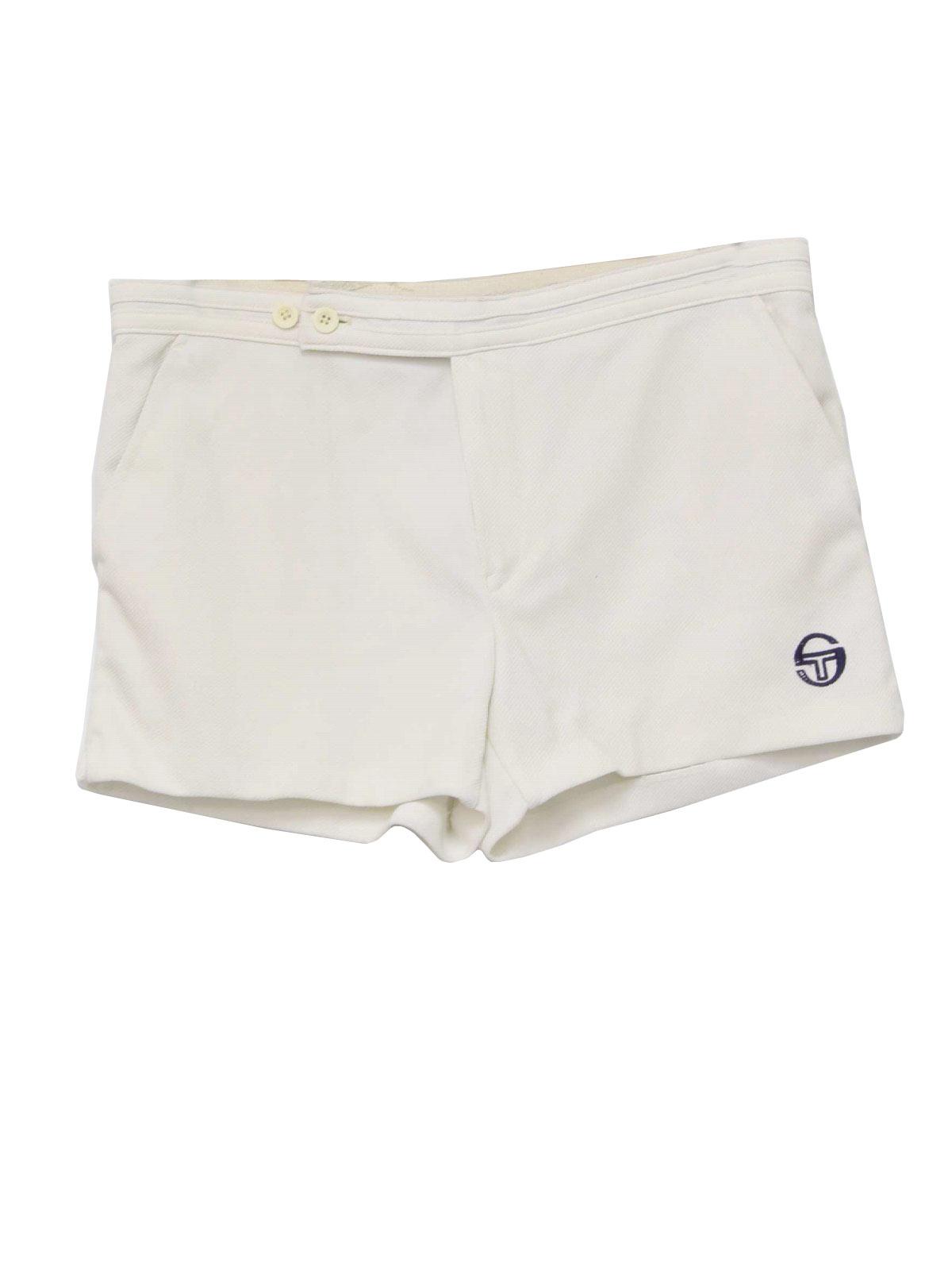 Retro Eighties Shorts: 80s -Sergio Tacchini- Mens off white double ...