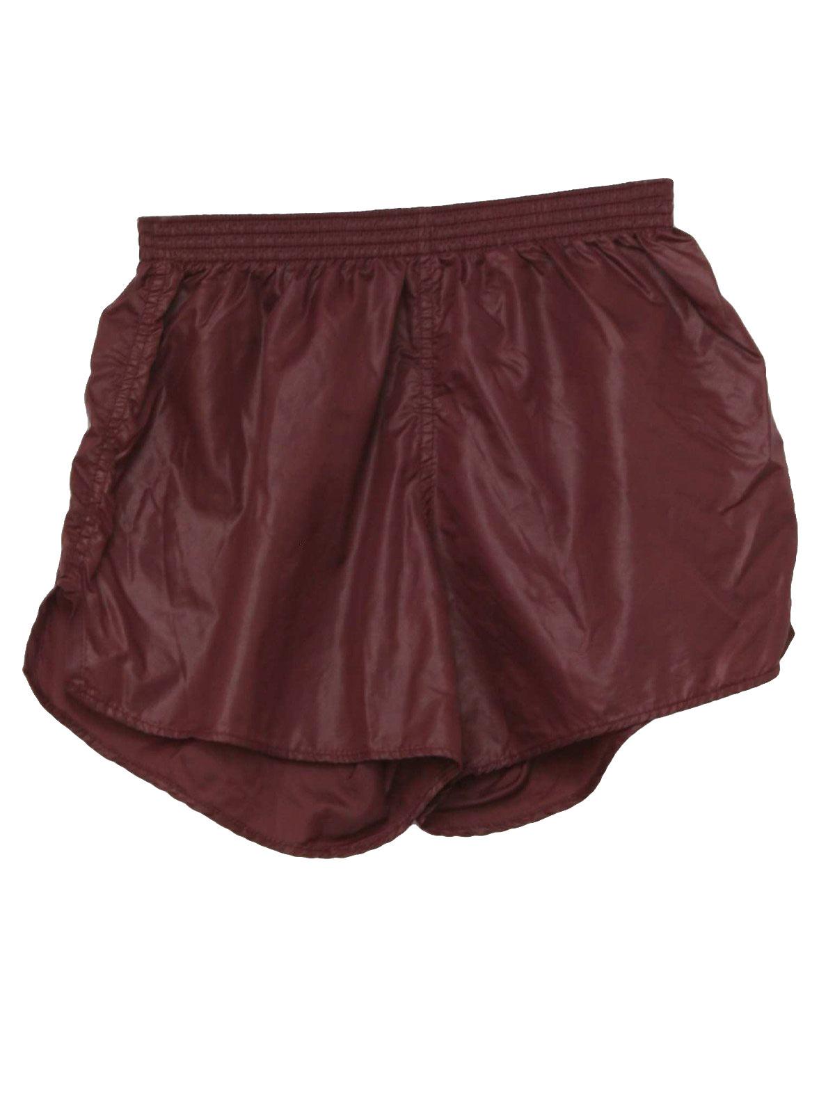 1980s Vintage Shorts: 80s -MJ Soffe- Mens burgundy nylon, elastic ...