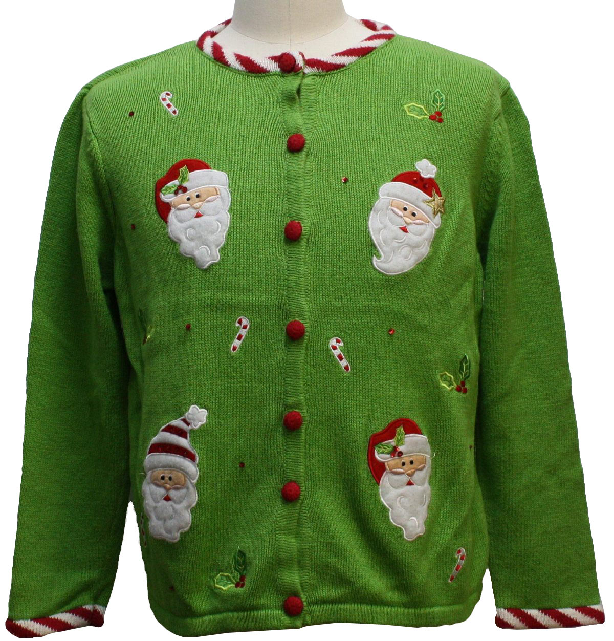 Ramie blend long sleeve ugly christmas sweater with appliqued santa