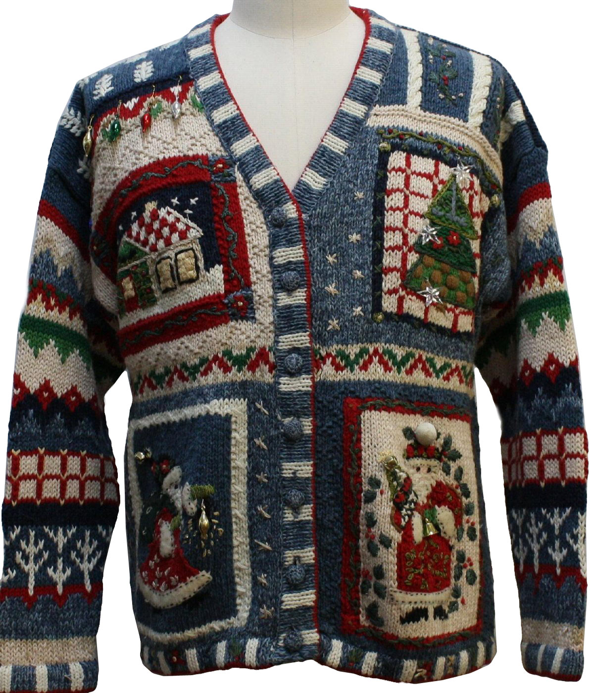 Womens Country Kitsch Ugly Christmas Sweater Heirloom Collectibles Womens Red White Tan