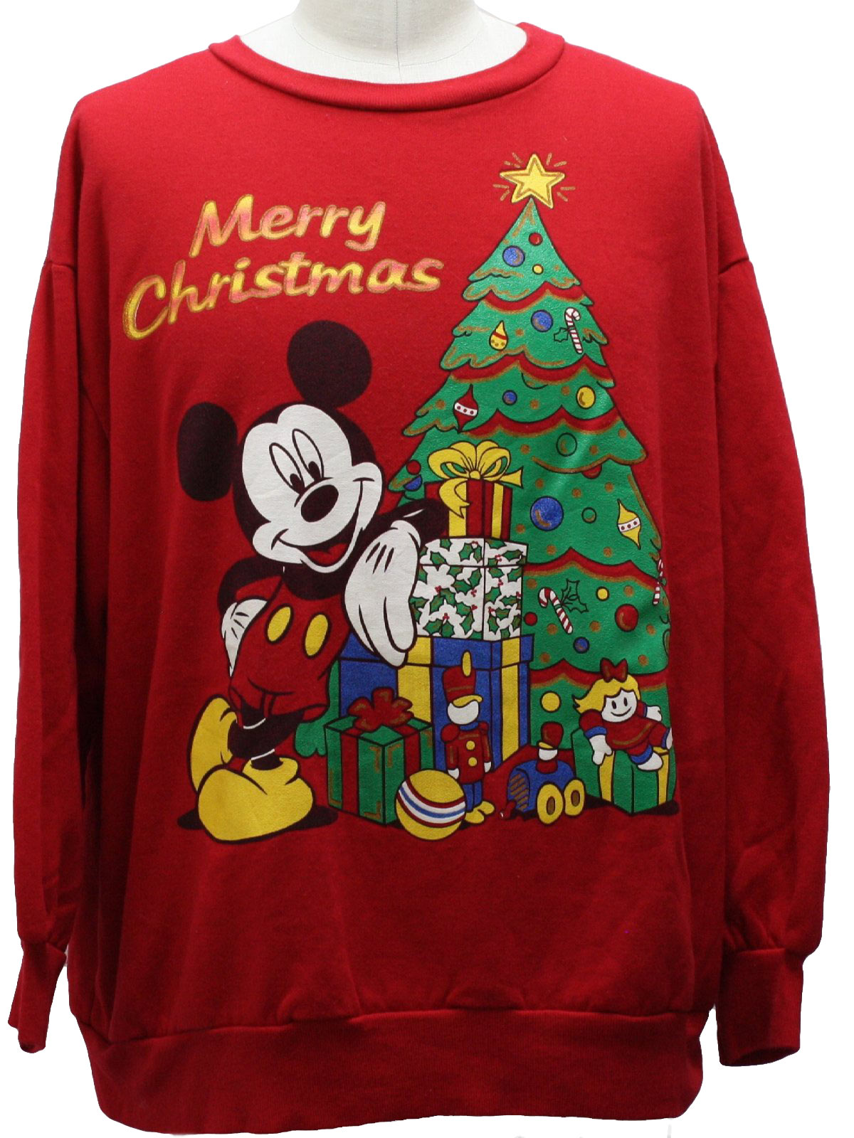 mickey mouse ugly christmas sweatshirt mickey unisex red background acrylic longsleeve pullover ugly christmas sweatshirt with mickey mouse leaning - Mickey Mouse Christmas Sweater