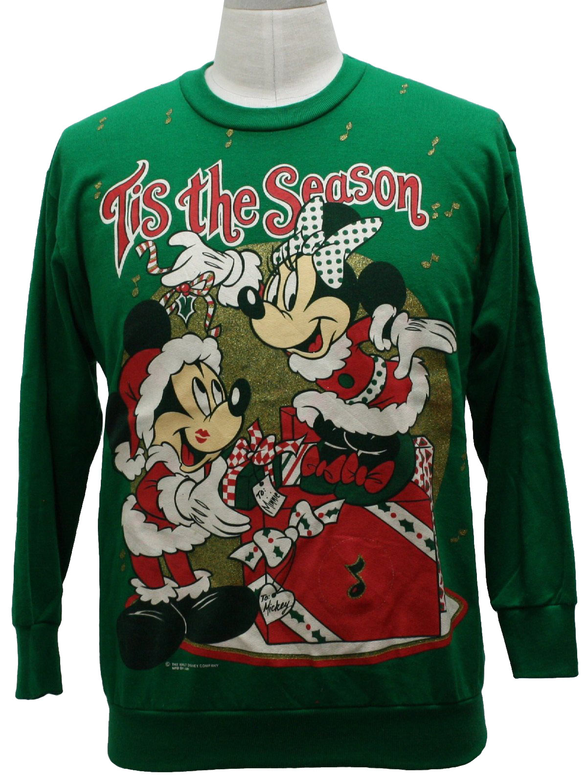 80s walt disney mickey mouse ugly christmas sweatshirt 80s authentic vintage walt disney unisex green background acrylic longsleeve pullover ugly