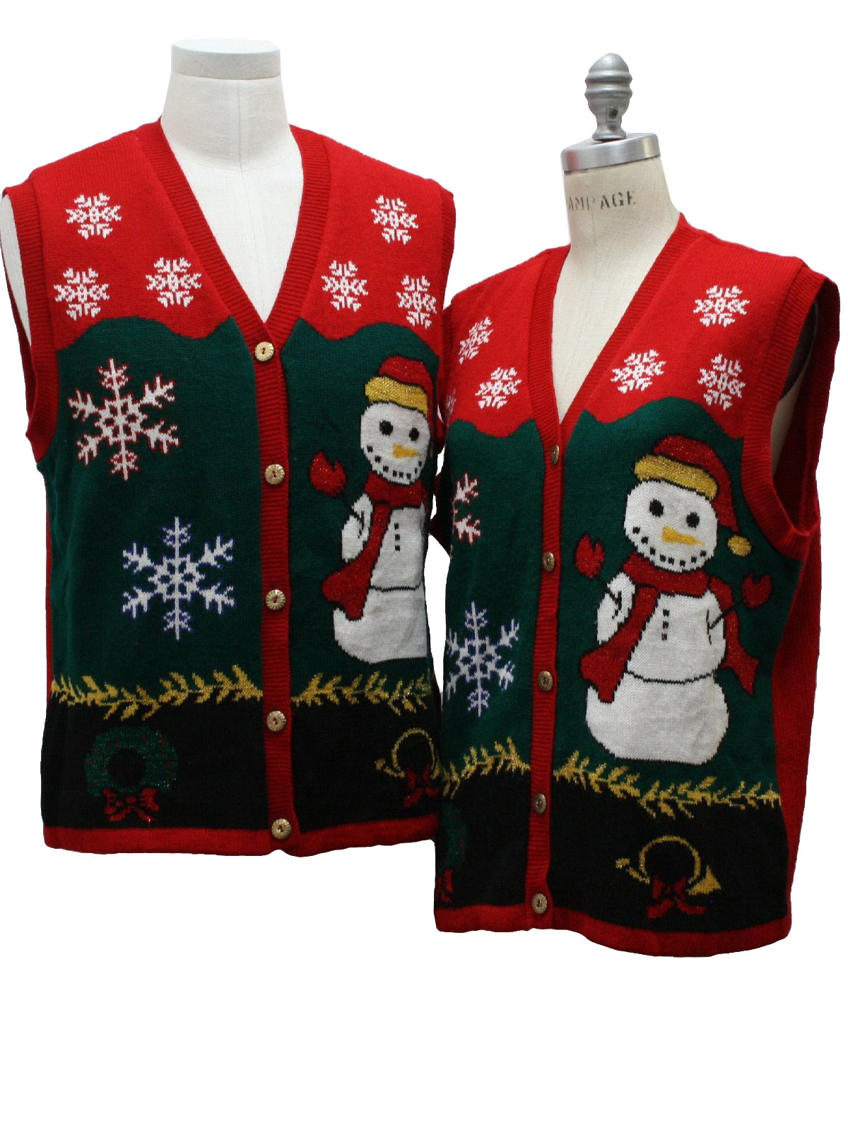 Style Studio Unisex Matching Set of Two Ugly Christmas Sweater Vests