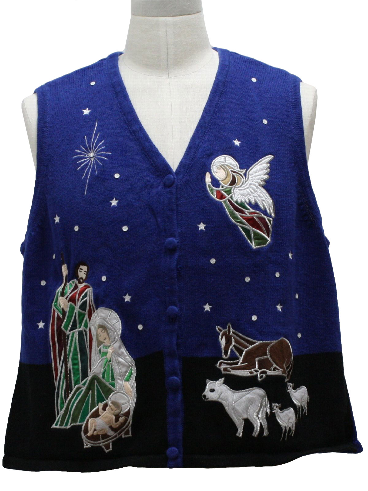 Ugly Christmas Sweater Vest Westbound Unisex Blue And