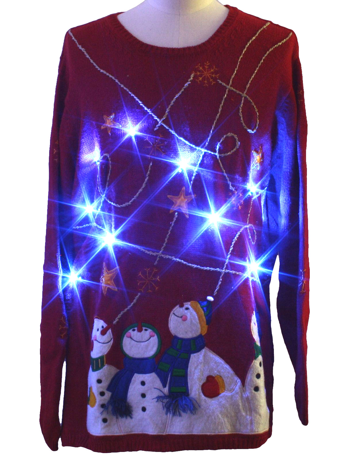 light up ugly christmas sweater holiday editions unisex red background cotton ramie blend long sleeve pullover light up 10 removable battery powered