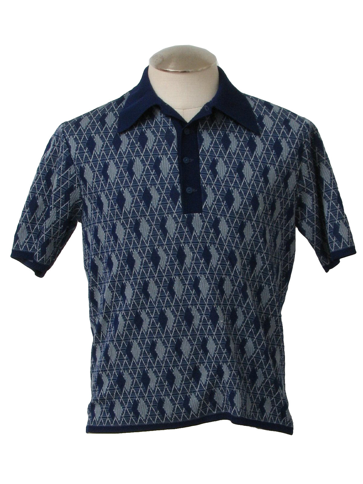1960s Vintage Knit Shirt: Late 60s -Klopfensteins- Mens navy blue ...