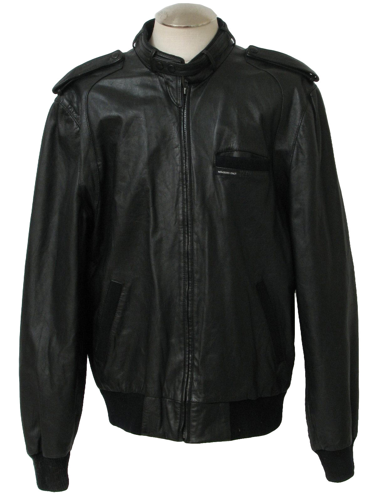 80s -Members Only- Mens black leather members only jacket with zip