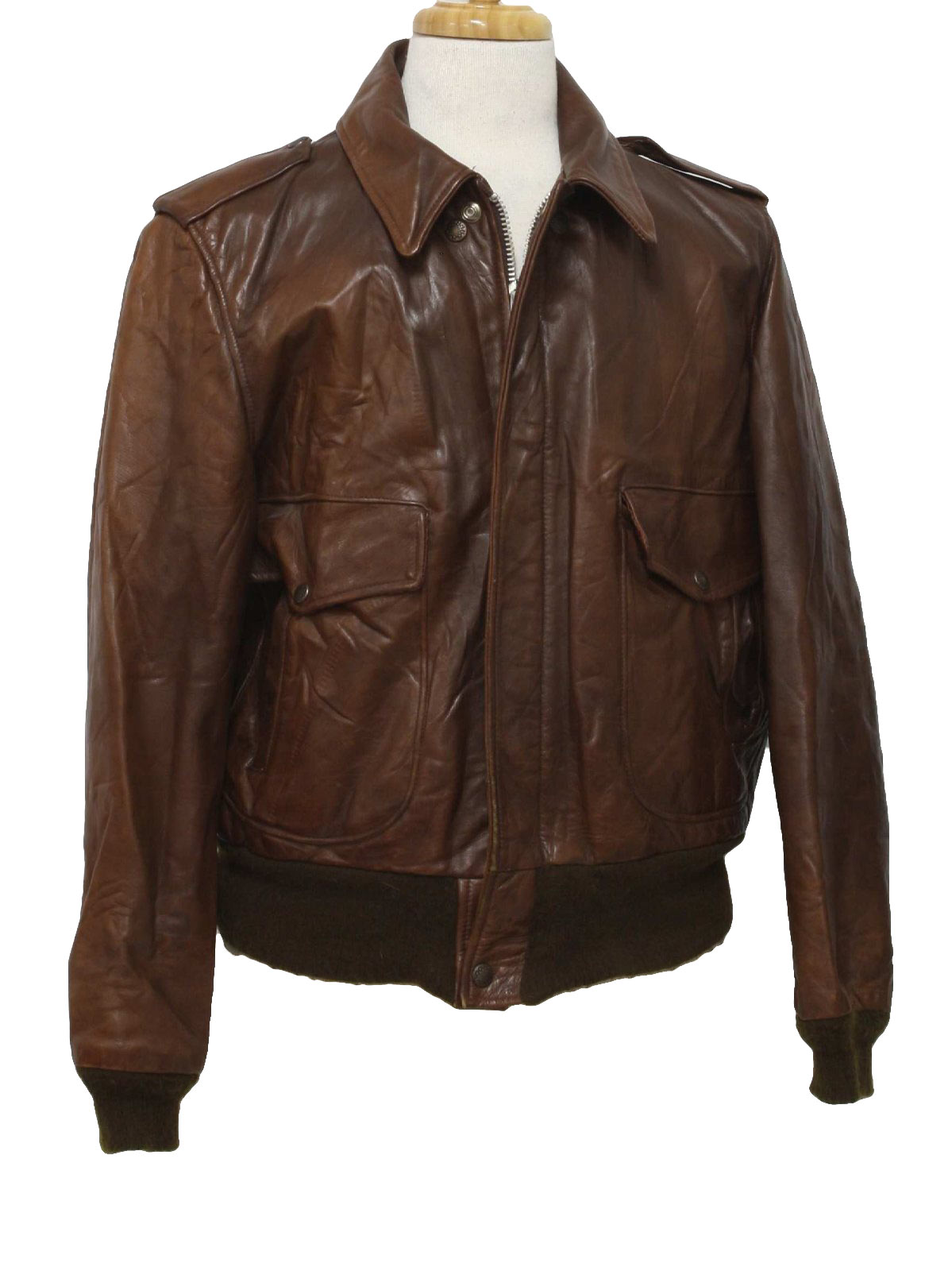 Retro 1970s Leather Jacket 70s Missing Label Mens Brown