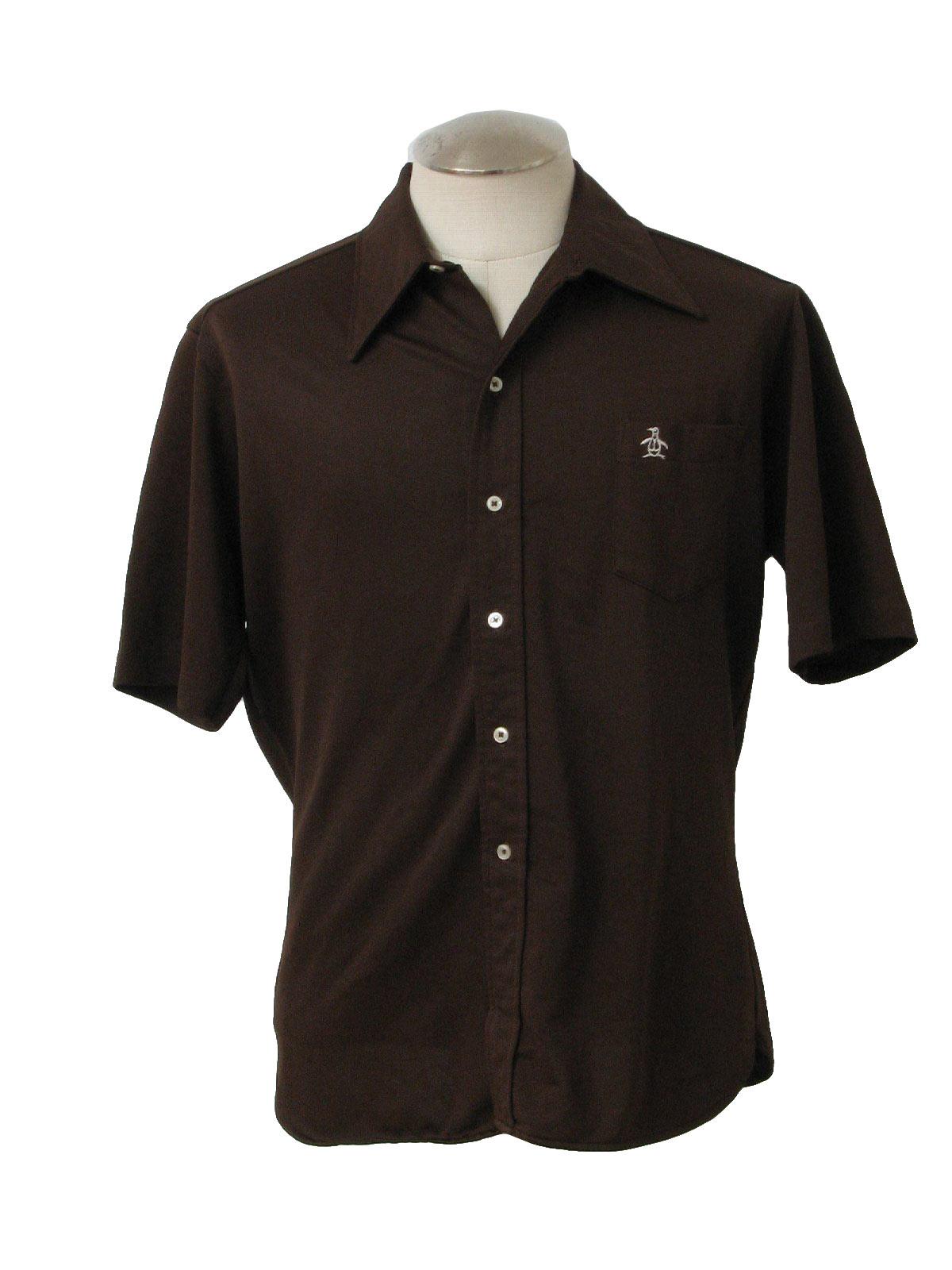 Grand slam 1970s vintage shirt 70s grand slam mens dark for Golf shirt with penguin logo