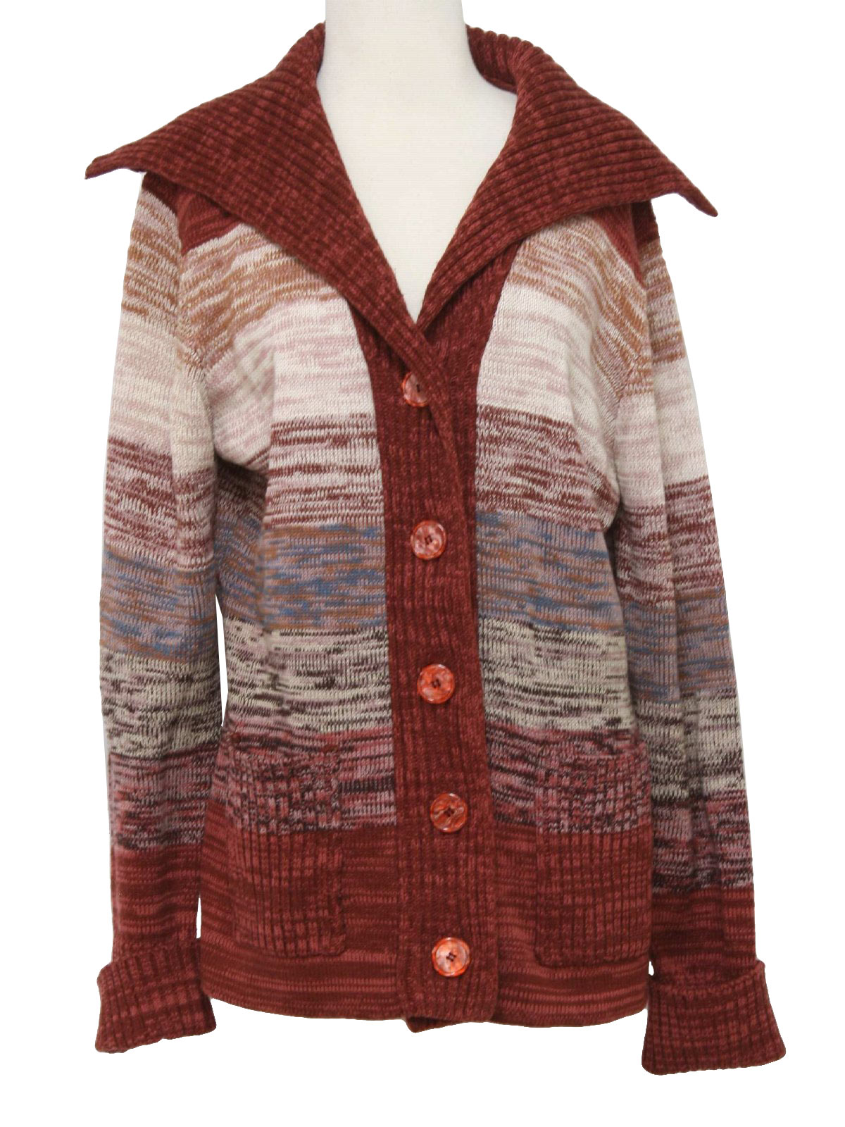 1970s Vintage Caridgan Sweater: 70s -De Mura- Womens maroon, blue ...