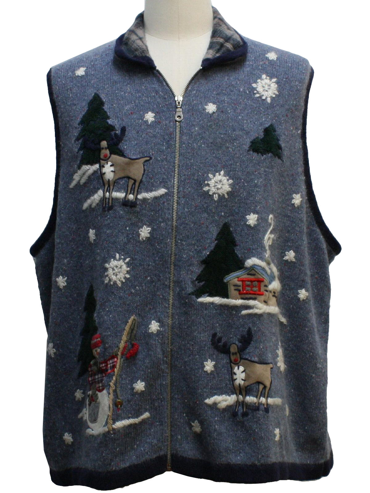 Ugly christmas sweater vest victoria jones unisex blue for Fishing ugly christmas sweater