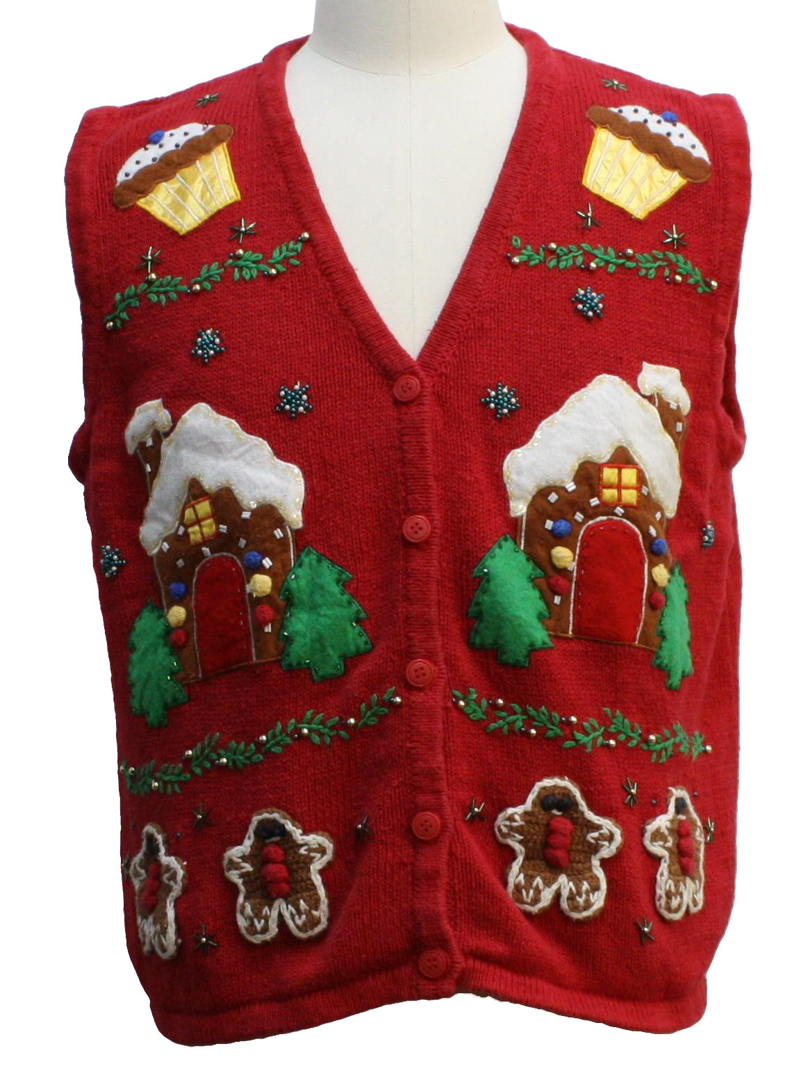 Womens Ugly Christmas Sweater Vest Bobbie Brooks Womens Red