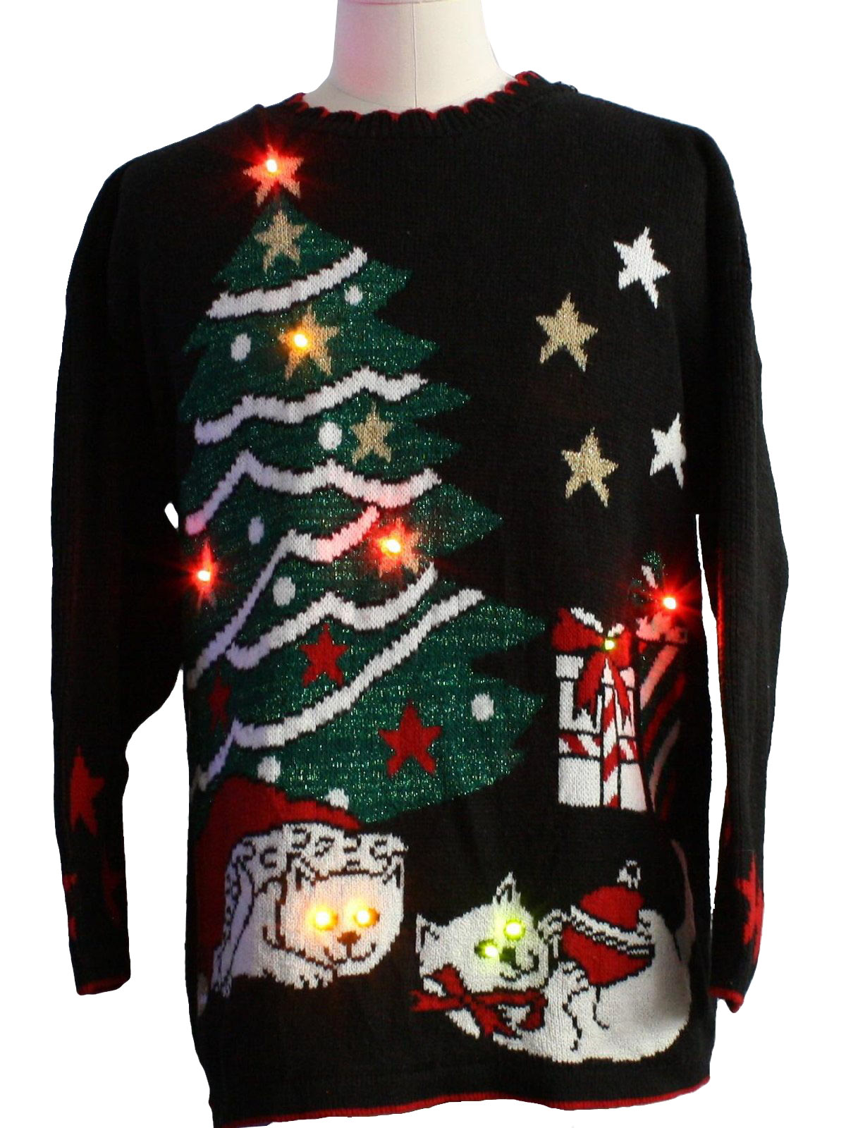 80s cat tastic light up ugly christmas sweater 80s authentic vintage holiday time unisex black background acrylic pullover longsleeve light up 10