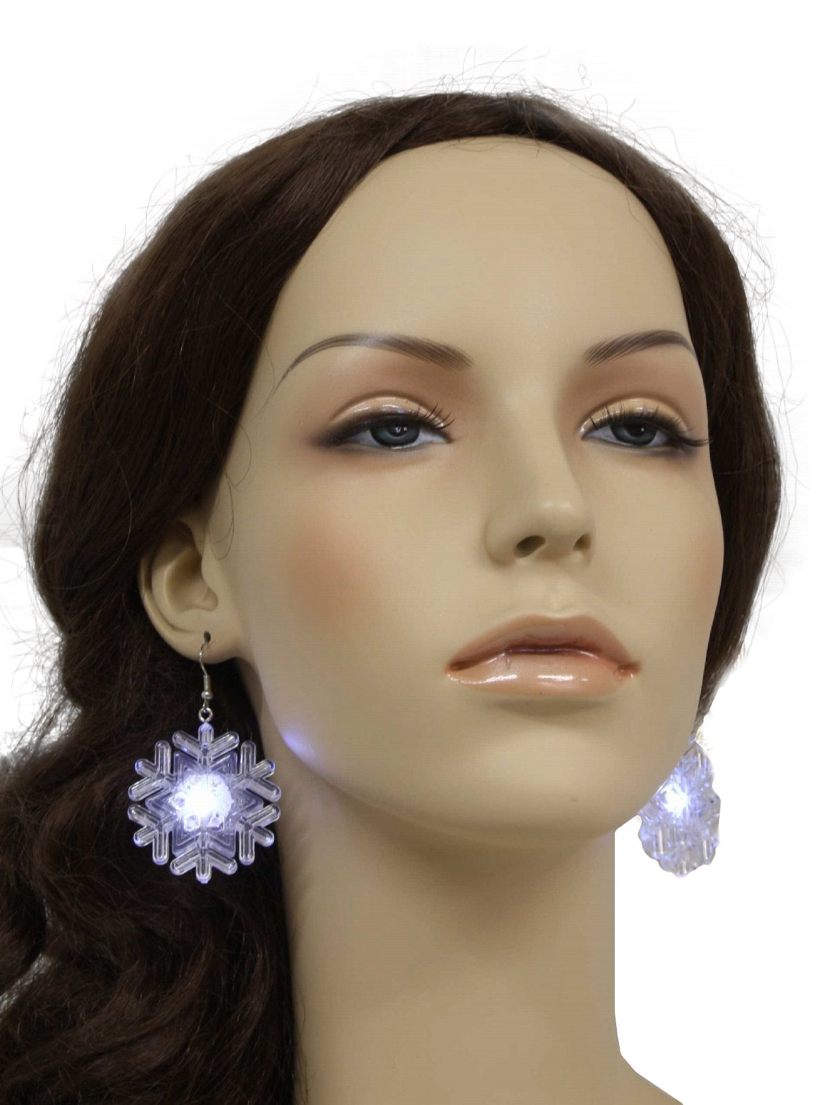 Womens Light Up Christmas Snowflake Earrings: 90s -Flashing ...