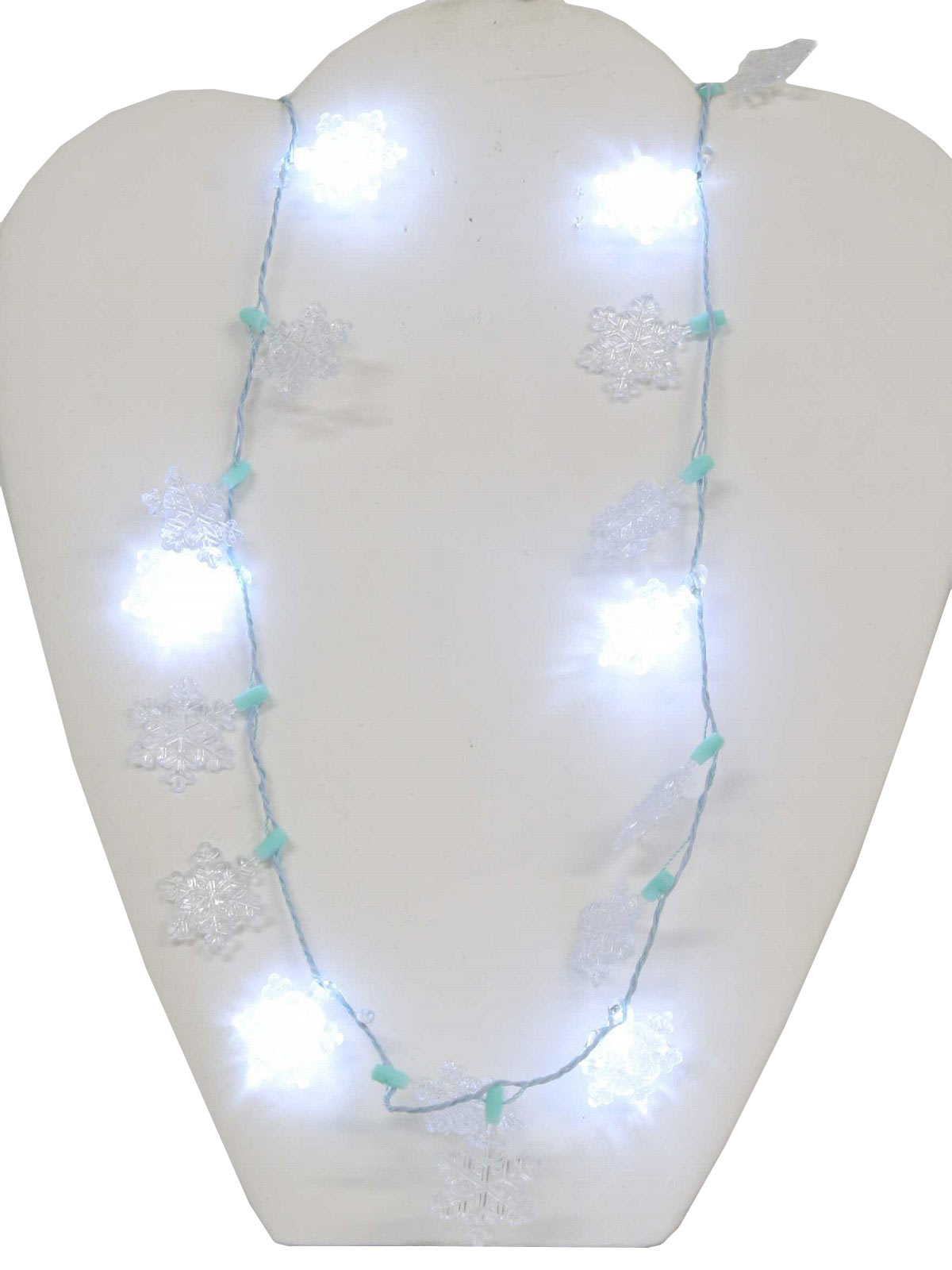 Light Up Christmas Snowflake Necklace 90s Flashing