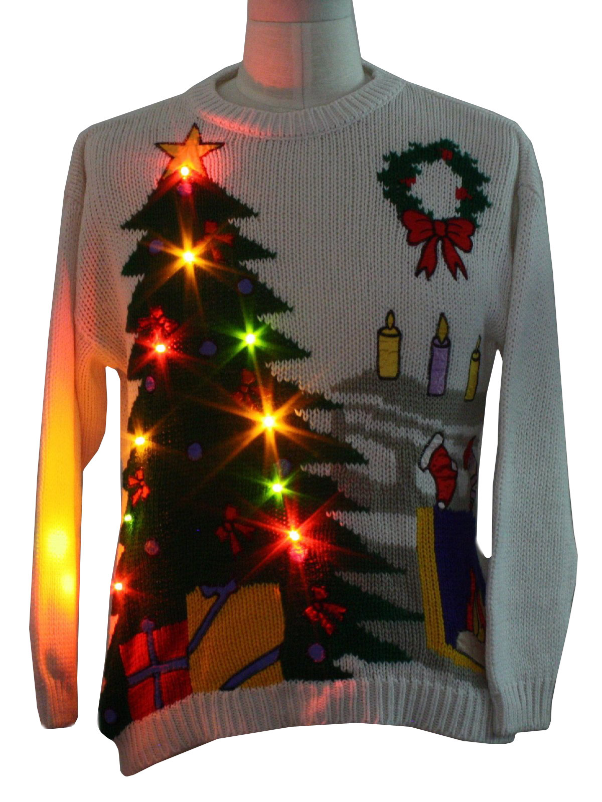 Vintage 1980 39 S Lightup Ugly Christmas Sweater Authentic 80s Vintage Jessica Roberts Unisex