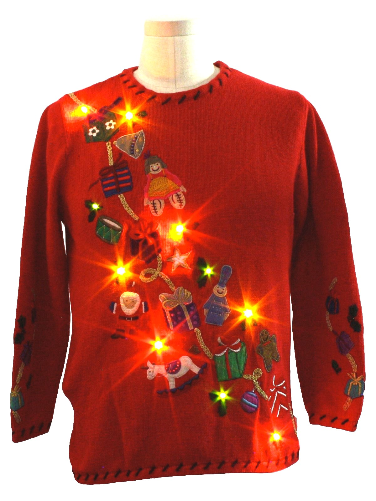 Lightup Ugly Christmas Sweater: -Rebecca Malone- Unisex red ...