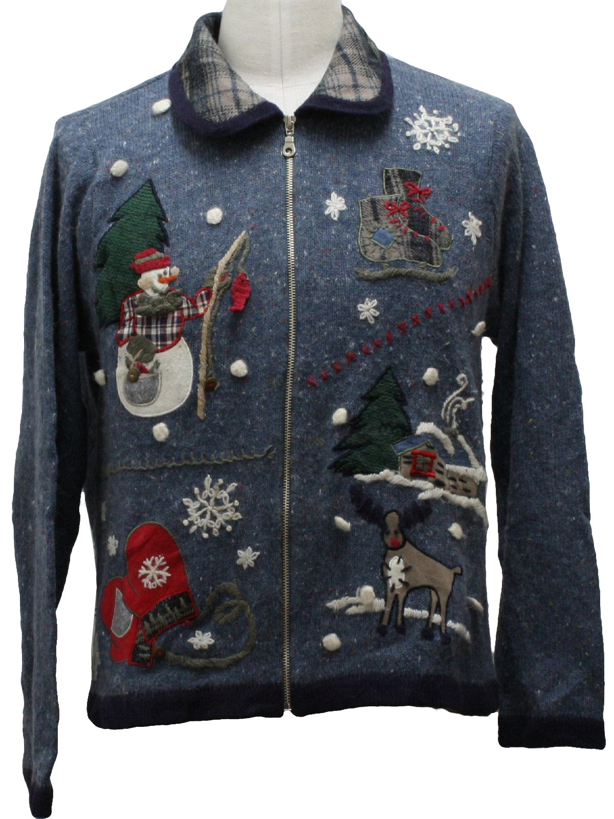 Ugly christmas sweater victoria jones unisex blue for Fishing christmas sweater