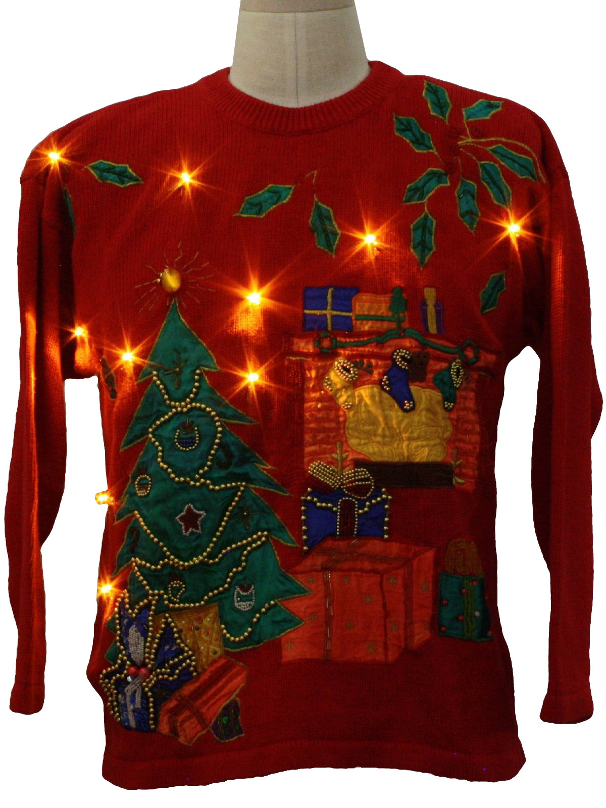 Womens Lightup Ugly Christmas Sweater Victoria Harbour Womens Red Background Cotton Ramie
