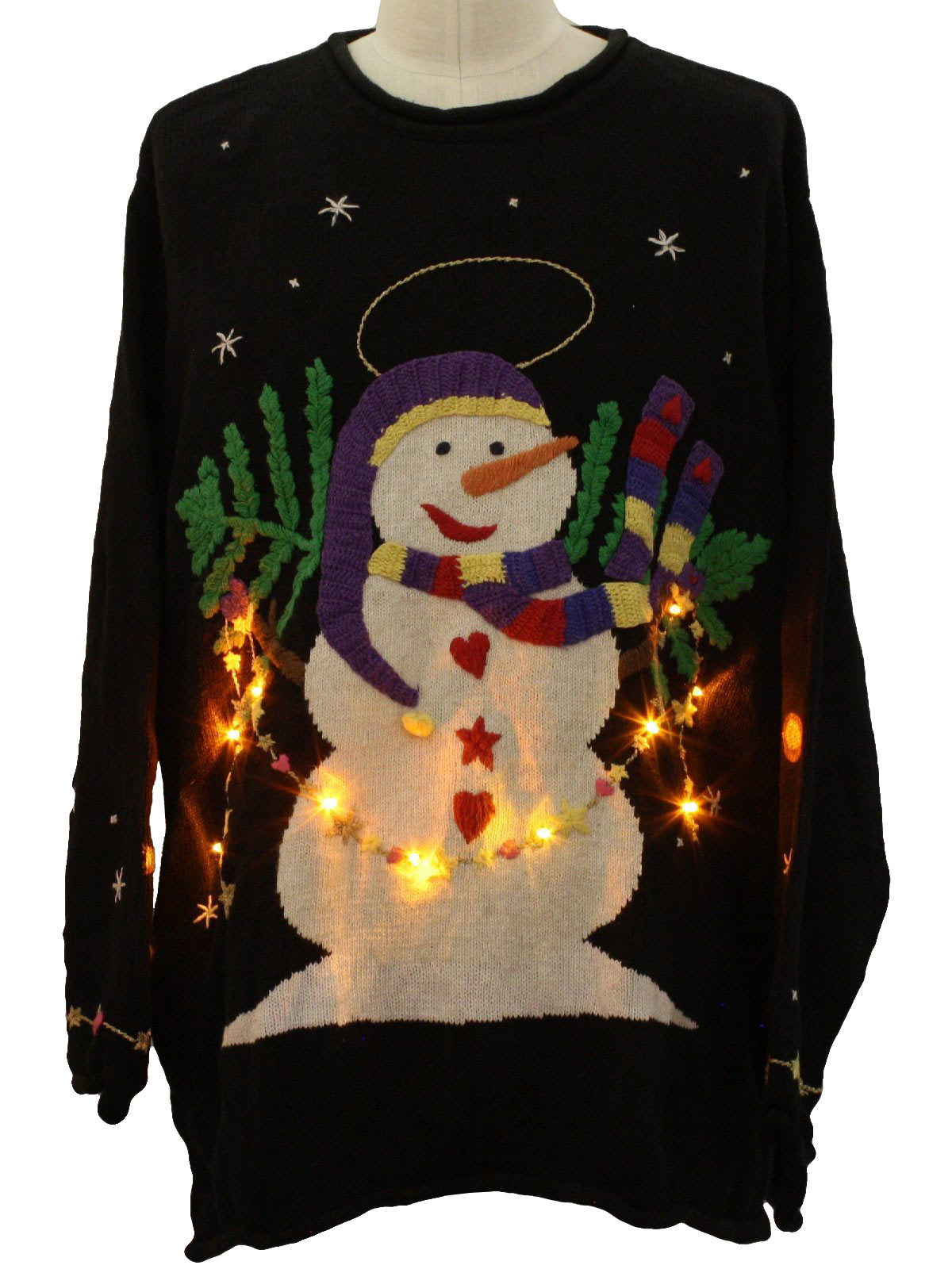 Lightup Ugly Christmas Sweater: -Quacker Factory- Unisex black ...
