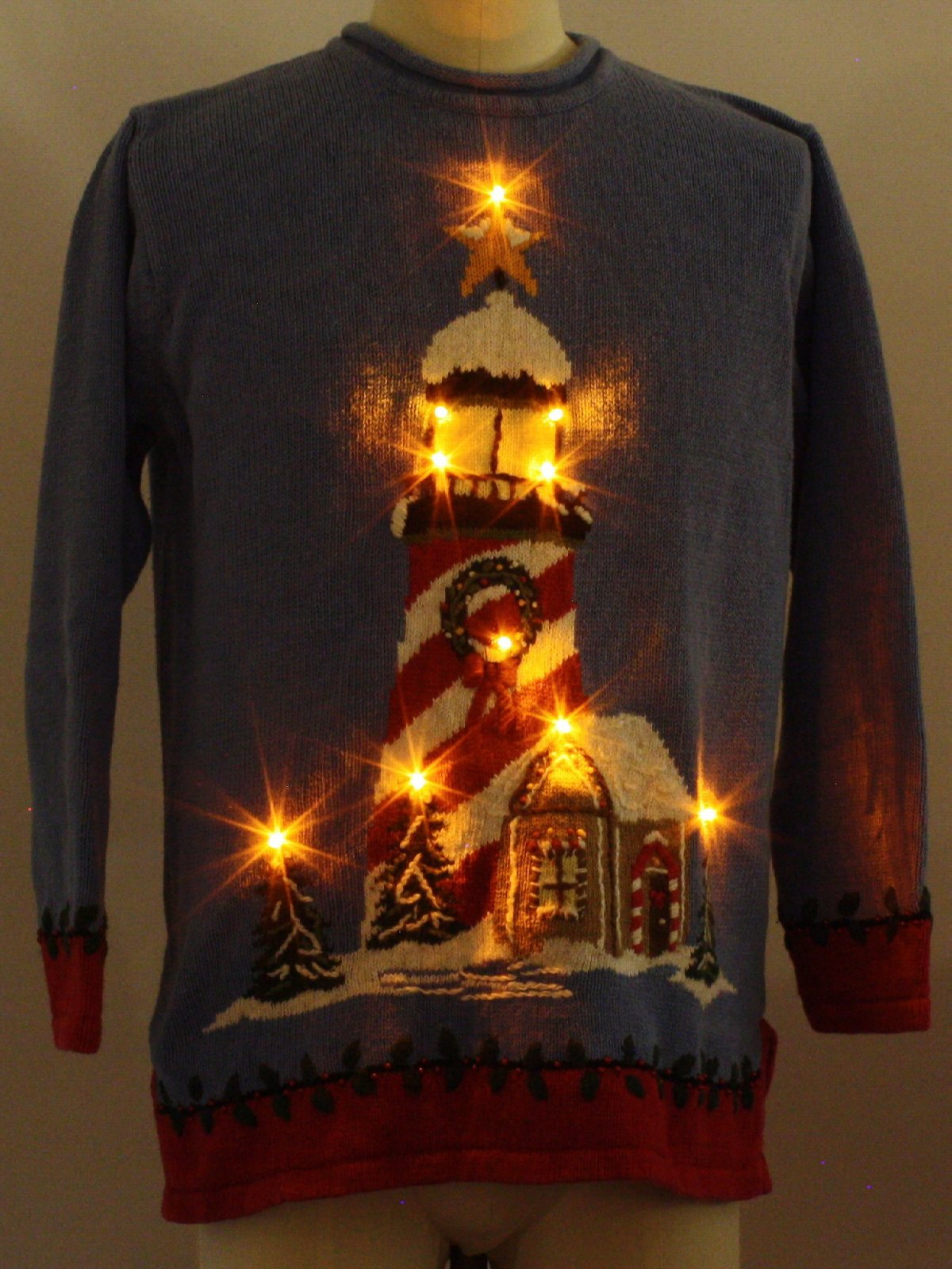 Lightup Ugly Christmas Sweater: -Quacker Factory- Unisex blue ...