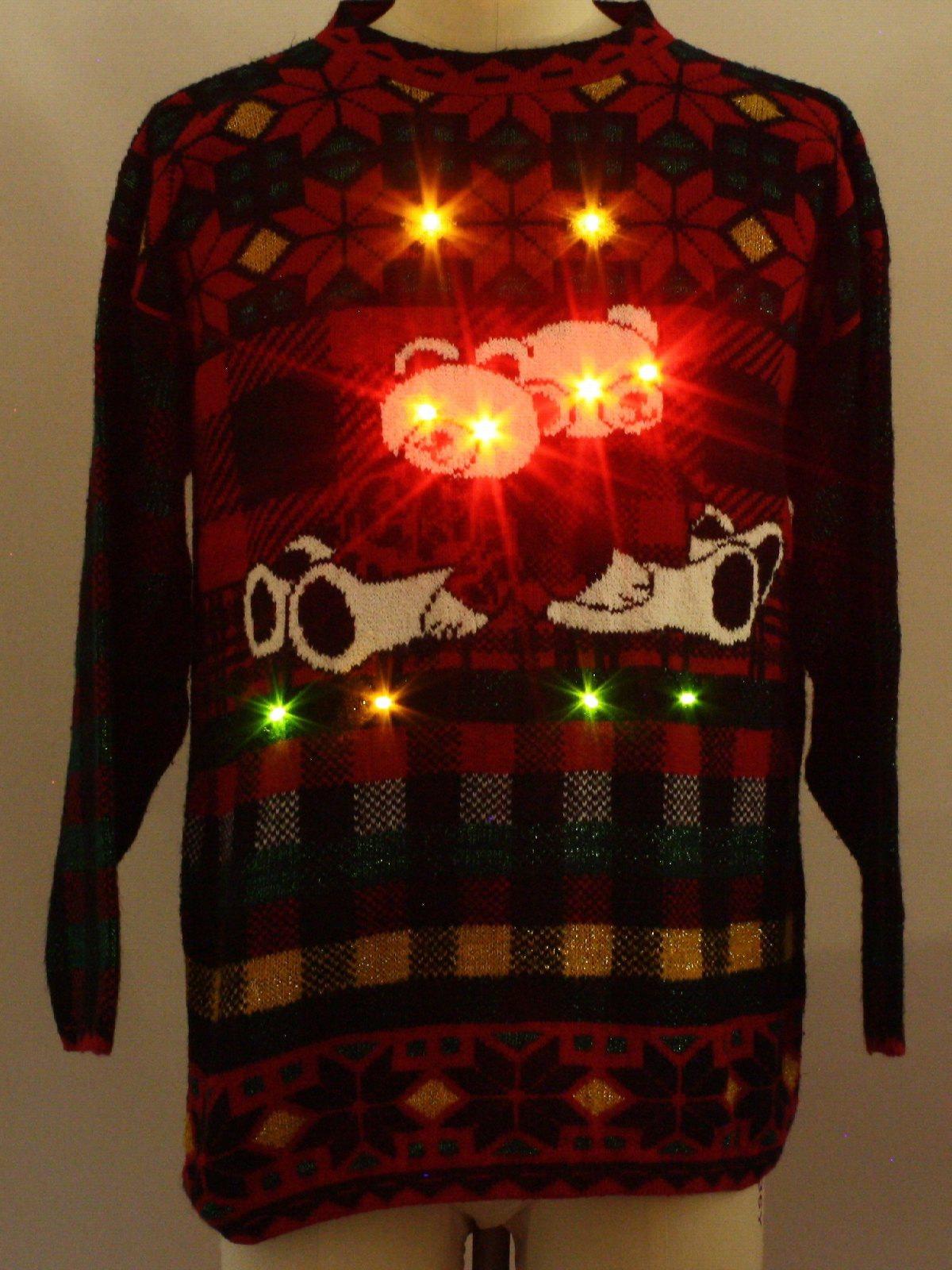 1980s Bear Riffic Lightup Ugly Christmas Sweater 80s