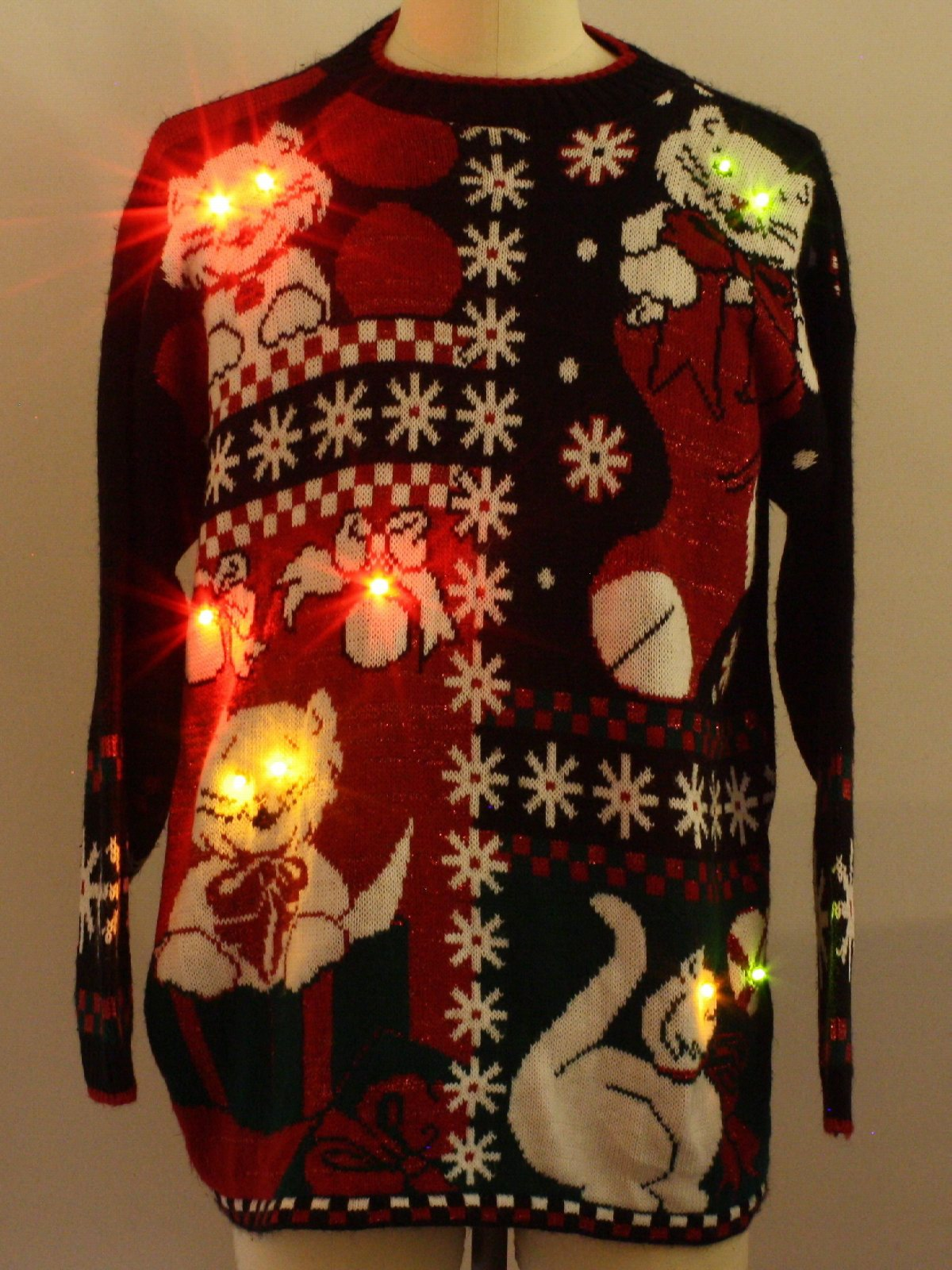 80s Retro Lightup Ugly Christmas Sweater 80s Authentic