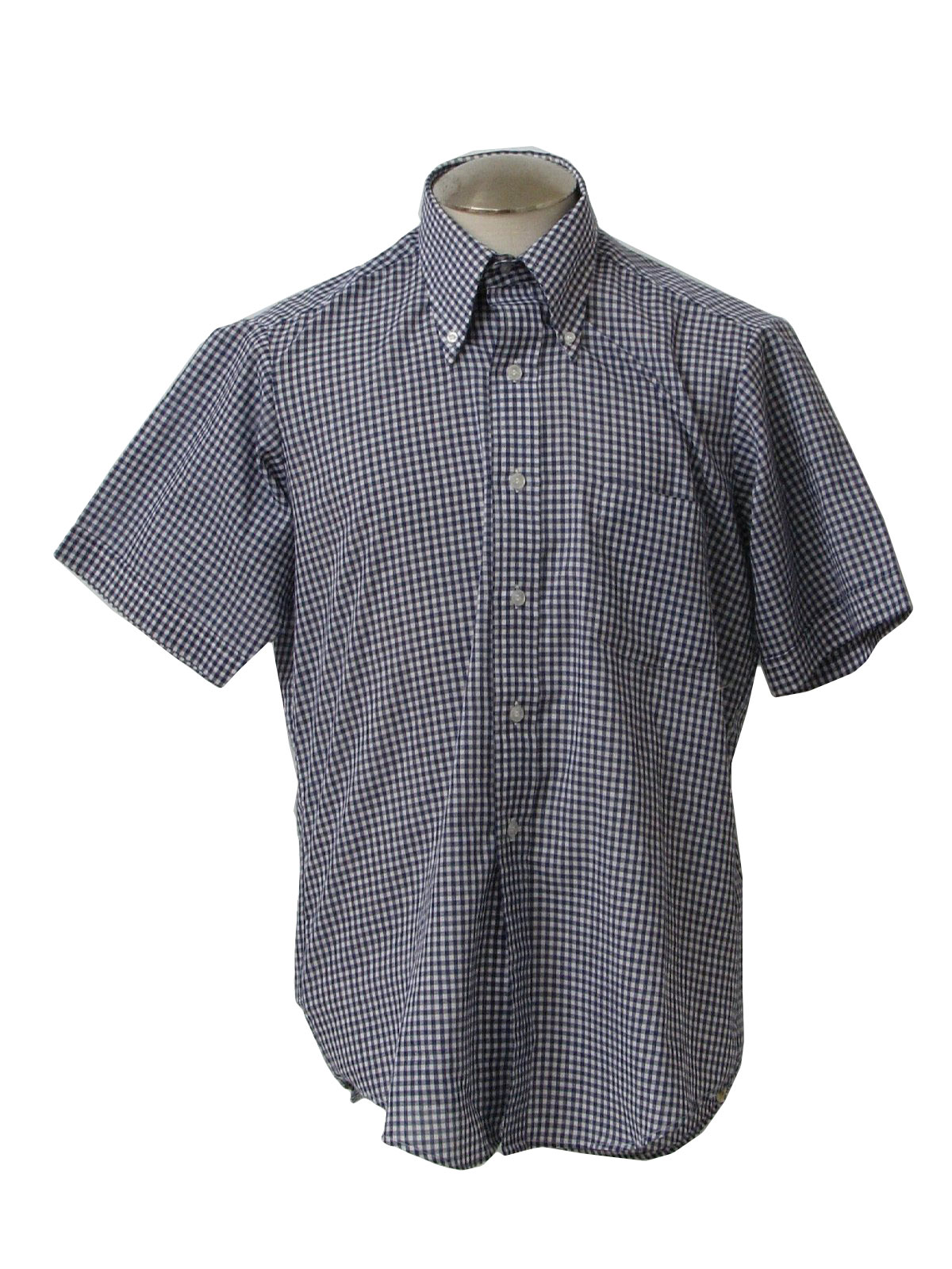 265ba37c7 Vintage Cadre Seventies Shirt: 70s -Cadre- Mens navy blue and white ...