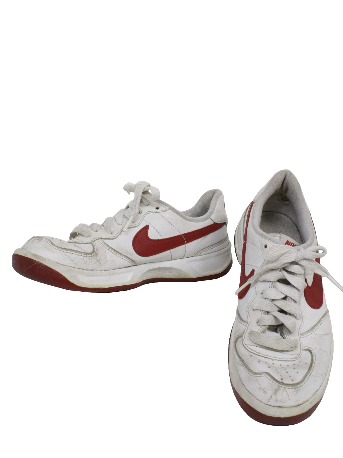 1990s Vintage Shoes: 90s -Nike- Mens white with red swoosh flat bottom old  school style tennis shoes. Shoes show light wear but still have a long life  to ...