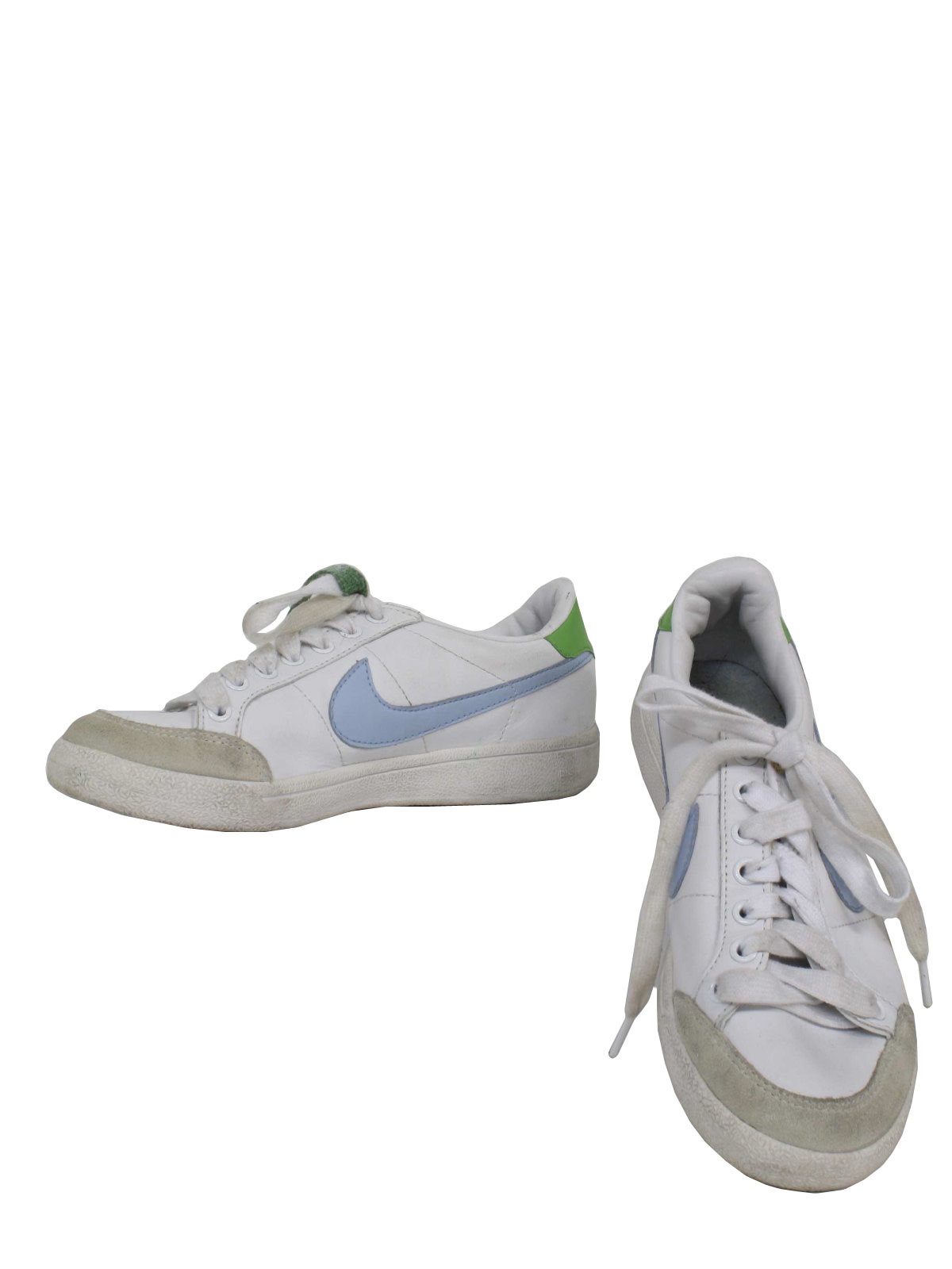 1990's Vintage Nike Shoes: 90s -Nike- Womens white with light blue swoosh  flat bottom old school style tennis shoes with green back -Nike-.