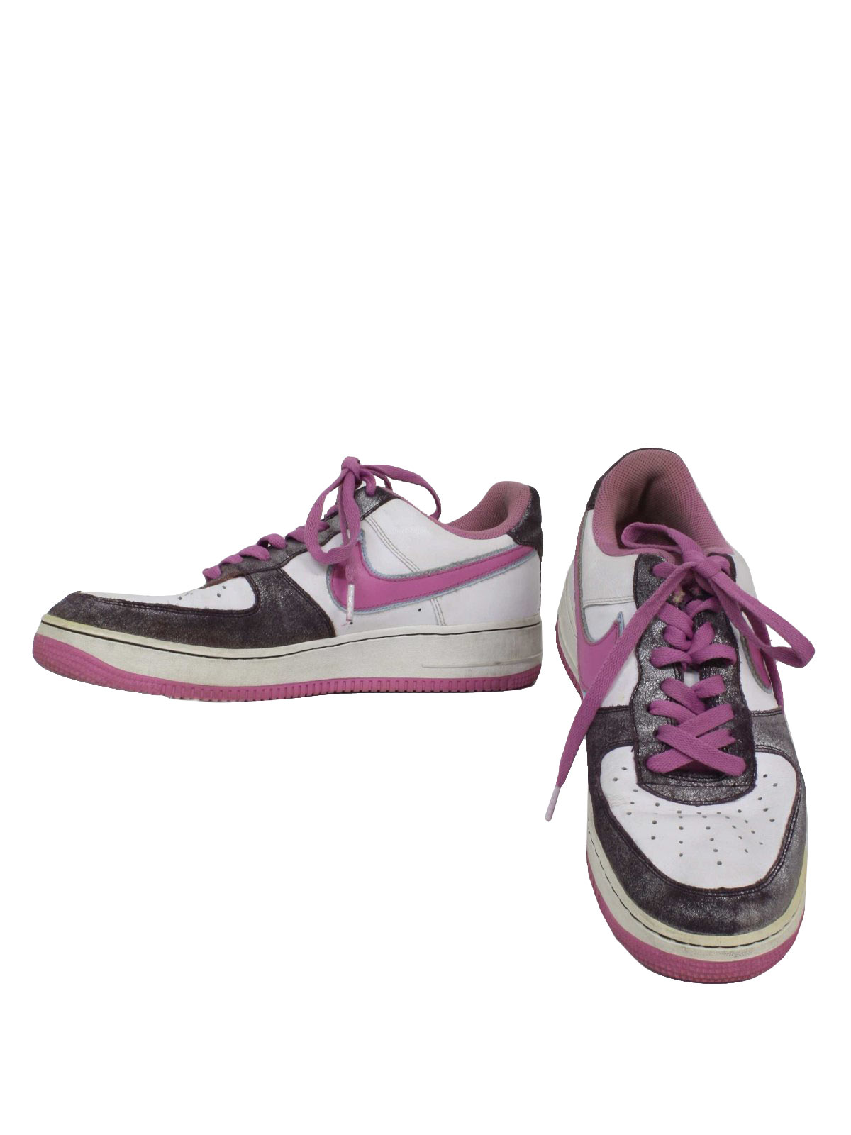 1990s Nike Air Force xxv Shoes: 90s -Nike Air Force xxv- Womens off white,  shaded shimmery violet and light blue trim along swoosh old school style  flat ...