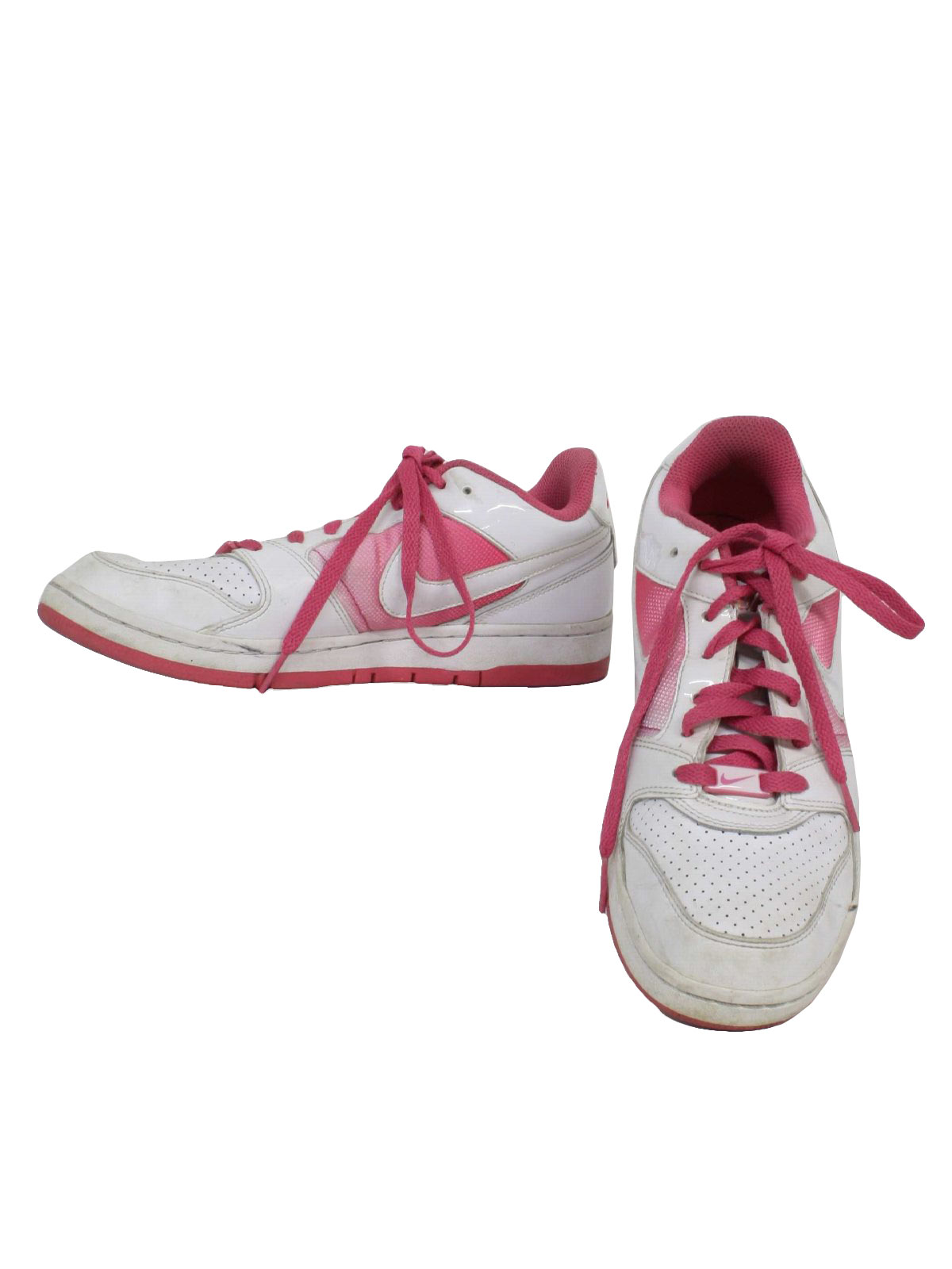 90's Vintage Shoes: 90s -Nike- Womens off white and shaded pink classic  swoosh design nike air tennis shoes with flat bottom and pink embroidered - Nike- at ...