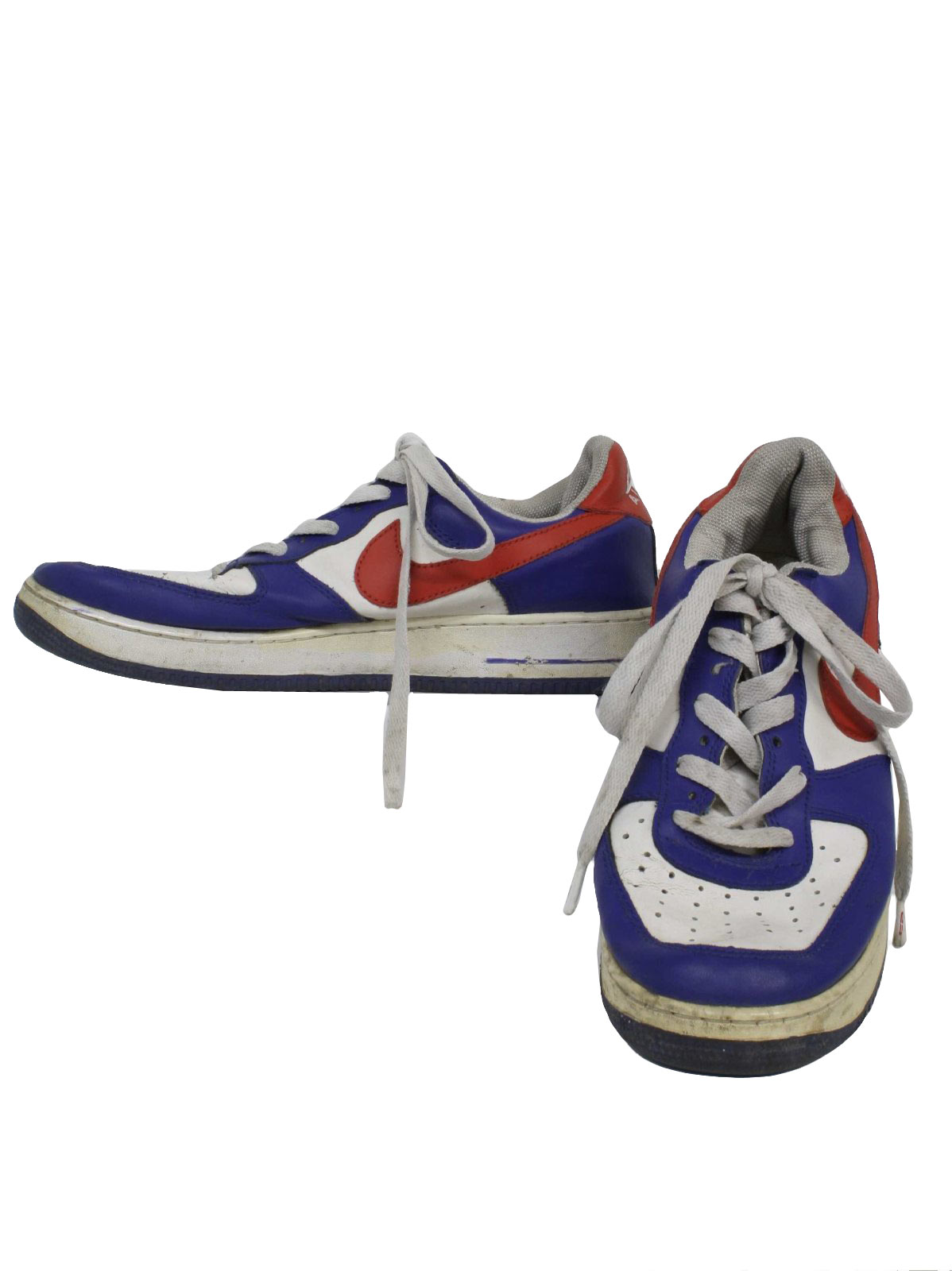 Nike Air Force 1 Nineties Vintage Shoes: 90s -Nike Air Force 1- Mens blue,  white and red flat bottom classic old school style tennis shoes with mesh  dot ...