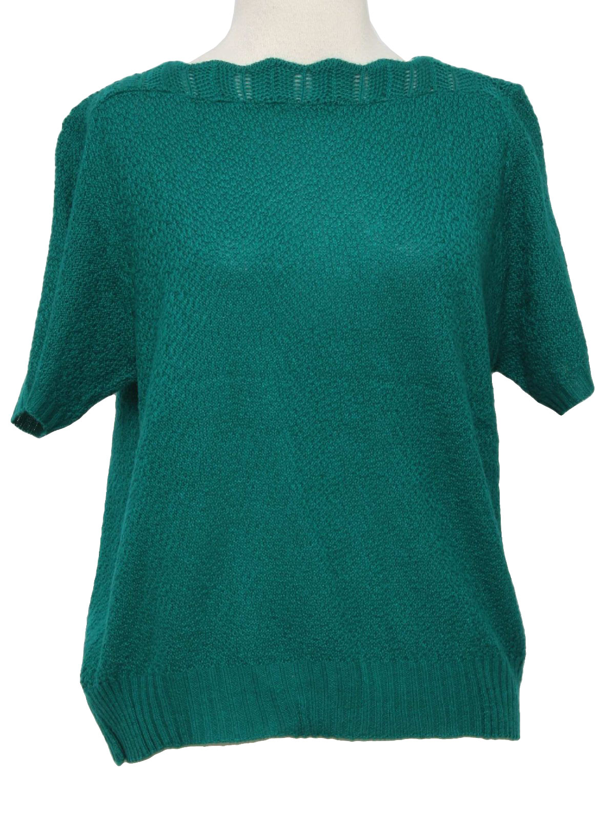 Eighties Vintage Sweater: 80s -Missing Label- Womens emerald green ...