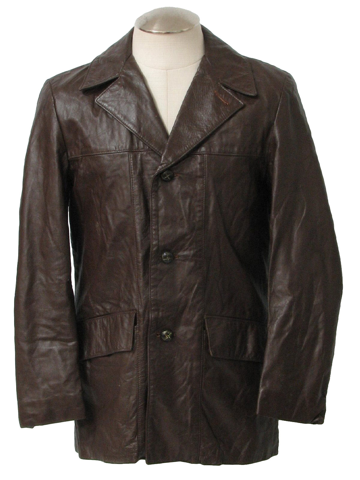 Vintage 1970's Leather Jacket: 70s -Missing Label- Mens dark brown