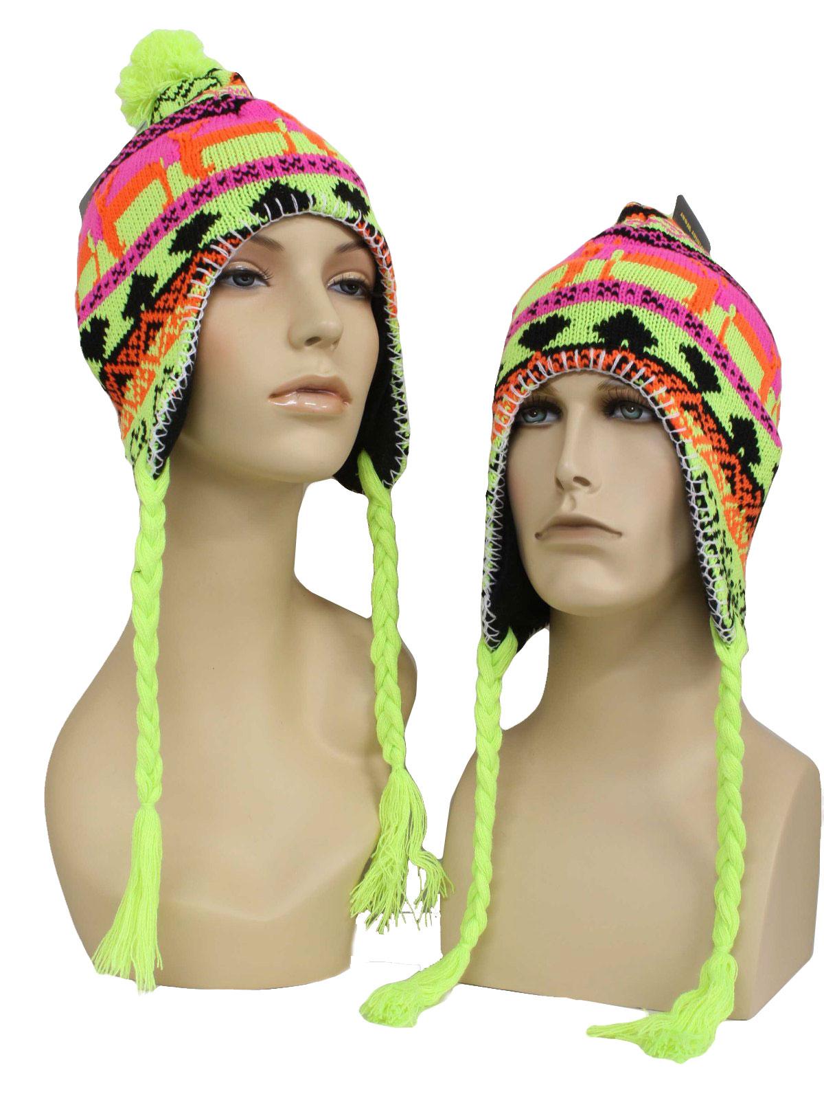 Winter Wear Unisex Neon Reindeer Ugly Christmas Ear Flap Knit Hat f5c23262014