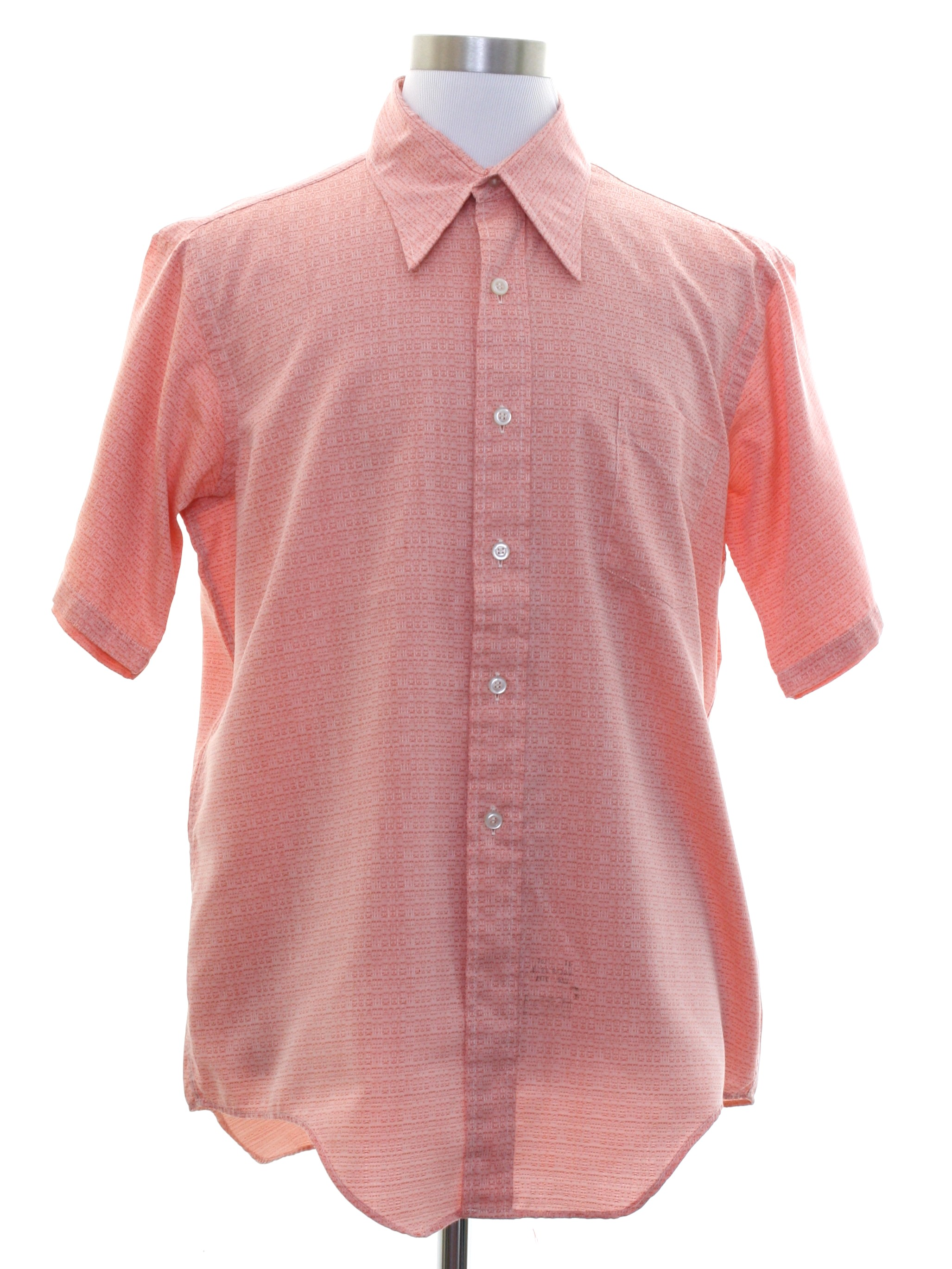 Vintage Carys 70s Shirt 70s Carys Mens Shades Of Salmon Cotton