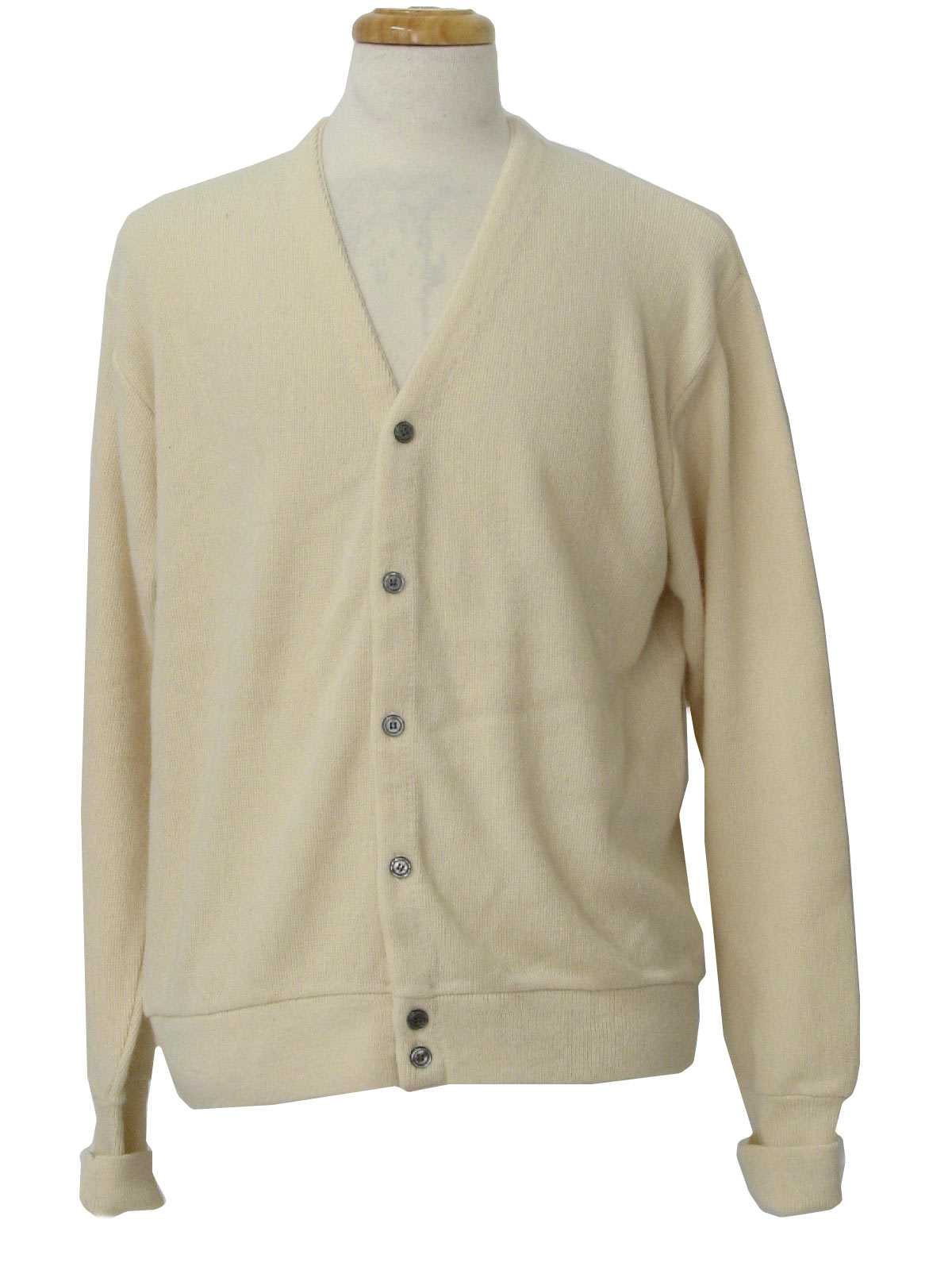 Vintage 70s Caridgan Sweater: 70s -Jantzen- Mens cream acrylic ...