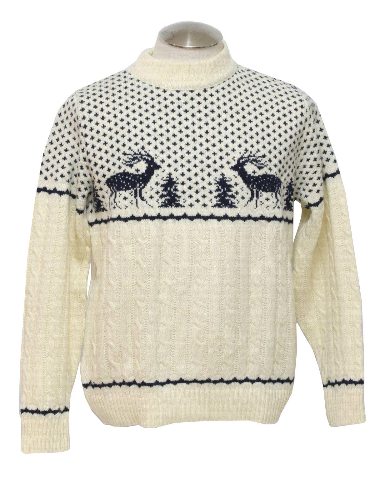 White Sweater Men Mens Reindeer Ski Sweater
