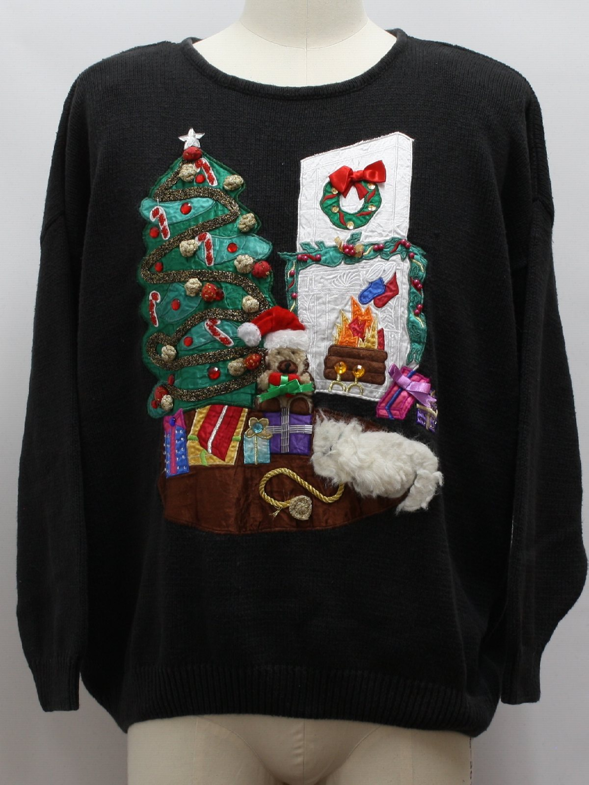 Ugly Christmas Sweater Work In Progress Unisex Black Background Cotton Polyester Blend
