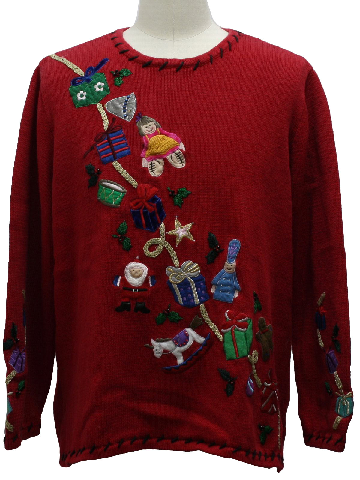 Ugly christmas sweater missing label unisex red for Over the top ugly christmas sweaters