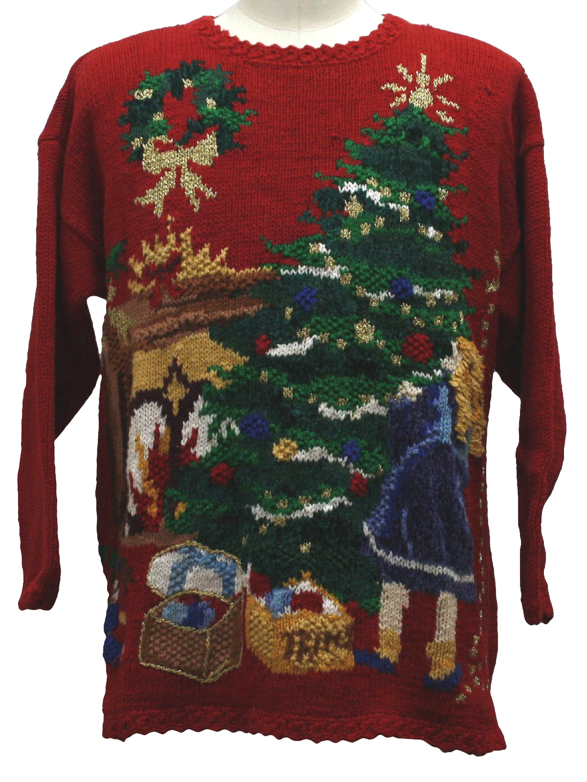 Ugly Christmas Sweater Heirloom Collectibles Unisex Red Background Ramie Cotton Blend