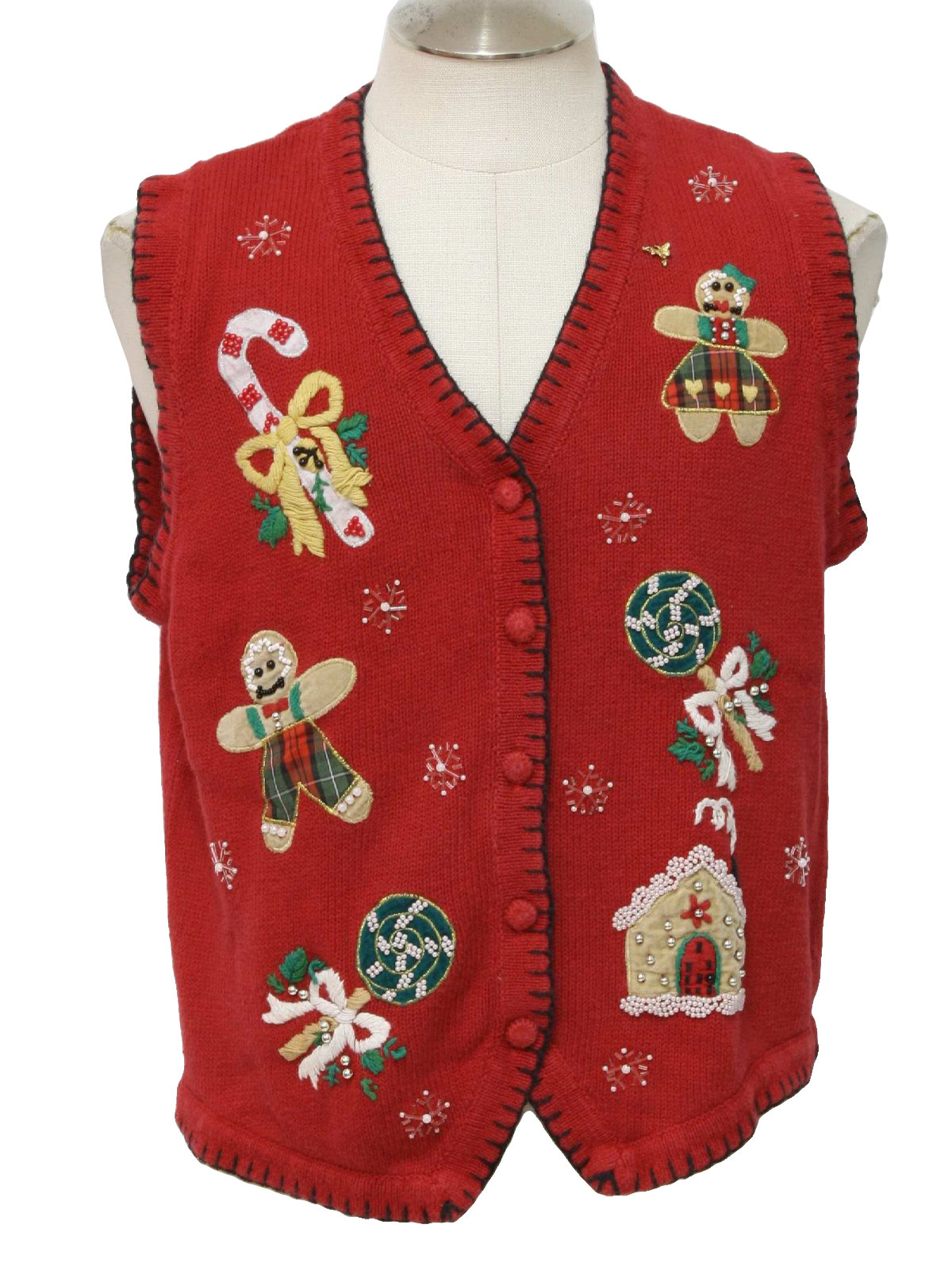 Ugly Christmas Sweater Vest Bp Design Unisex Red Background